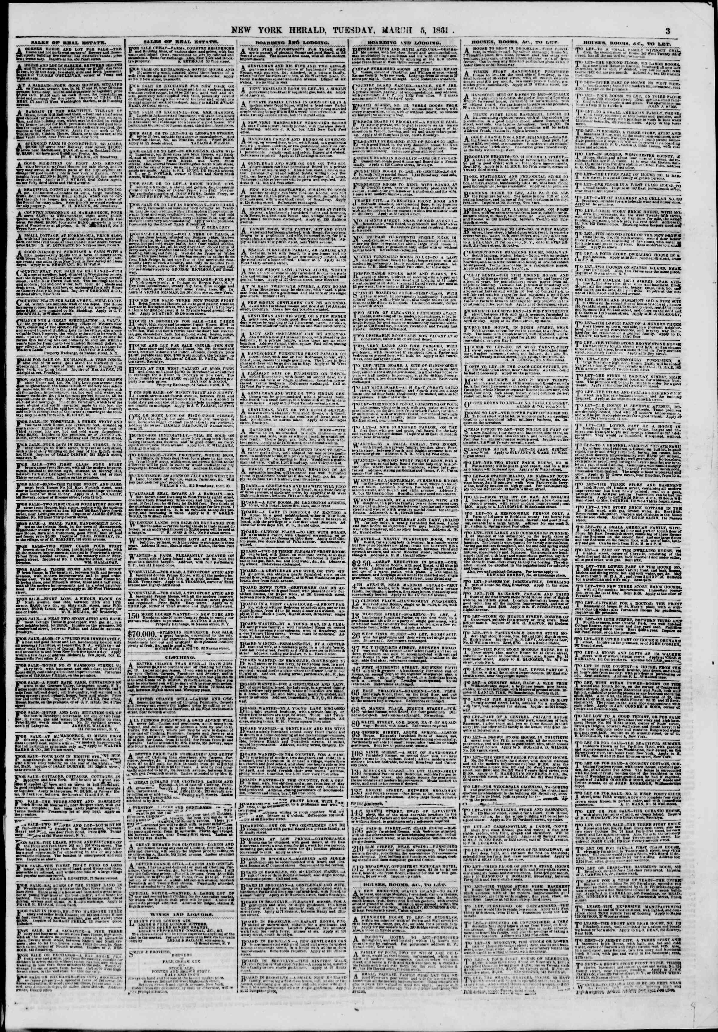Newspaper of The New York Herald dated March 5, 1861 Page 3