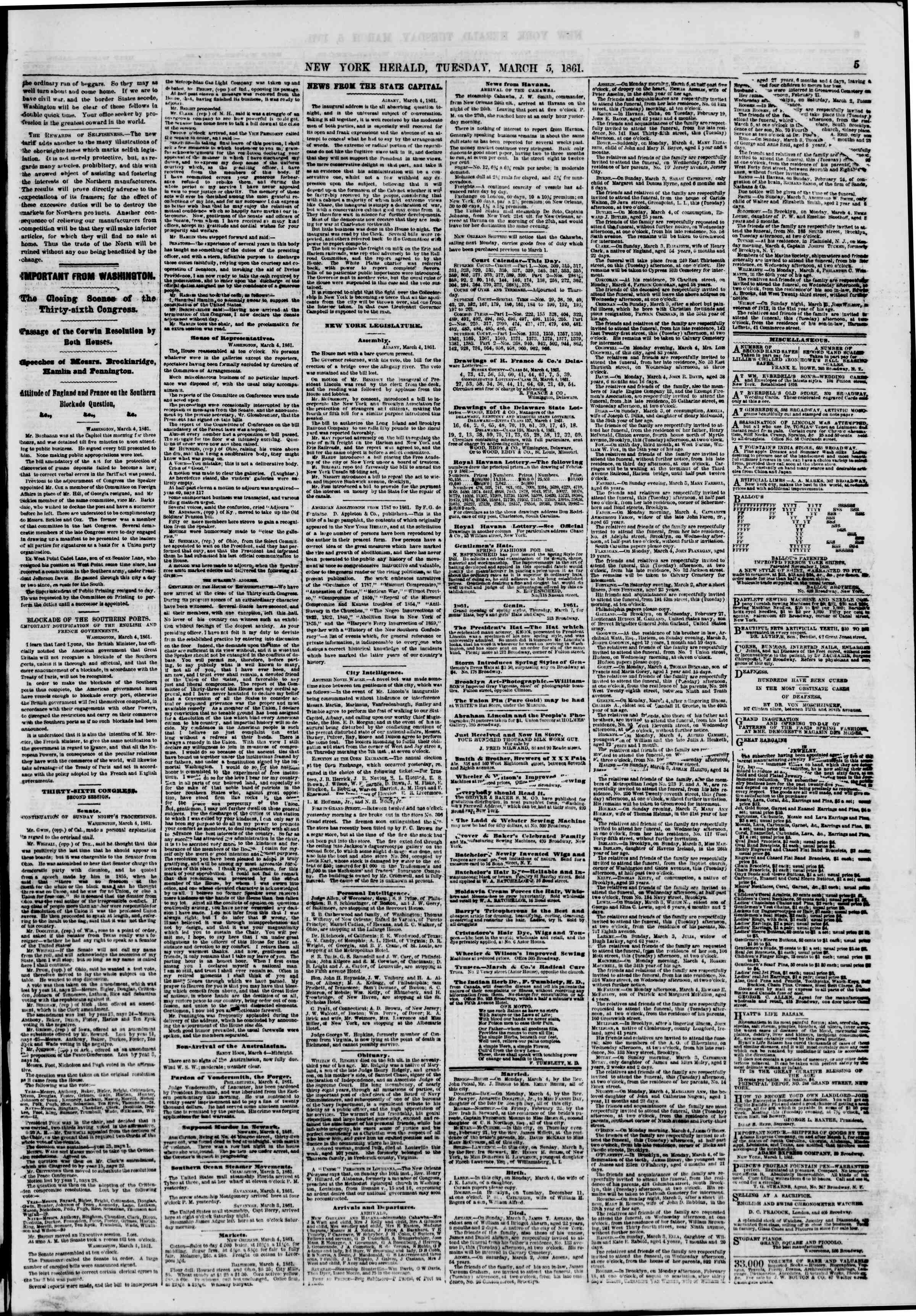 Newspaper of The New York Herald dated March 5, 1861 Page 5