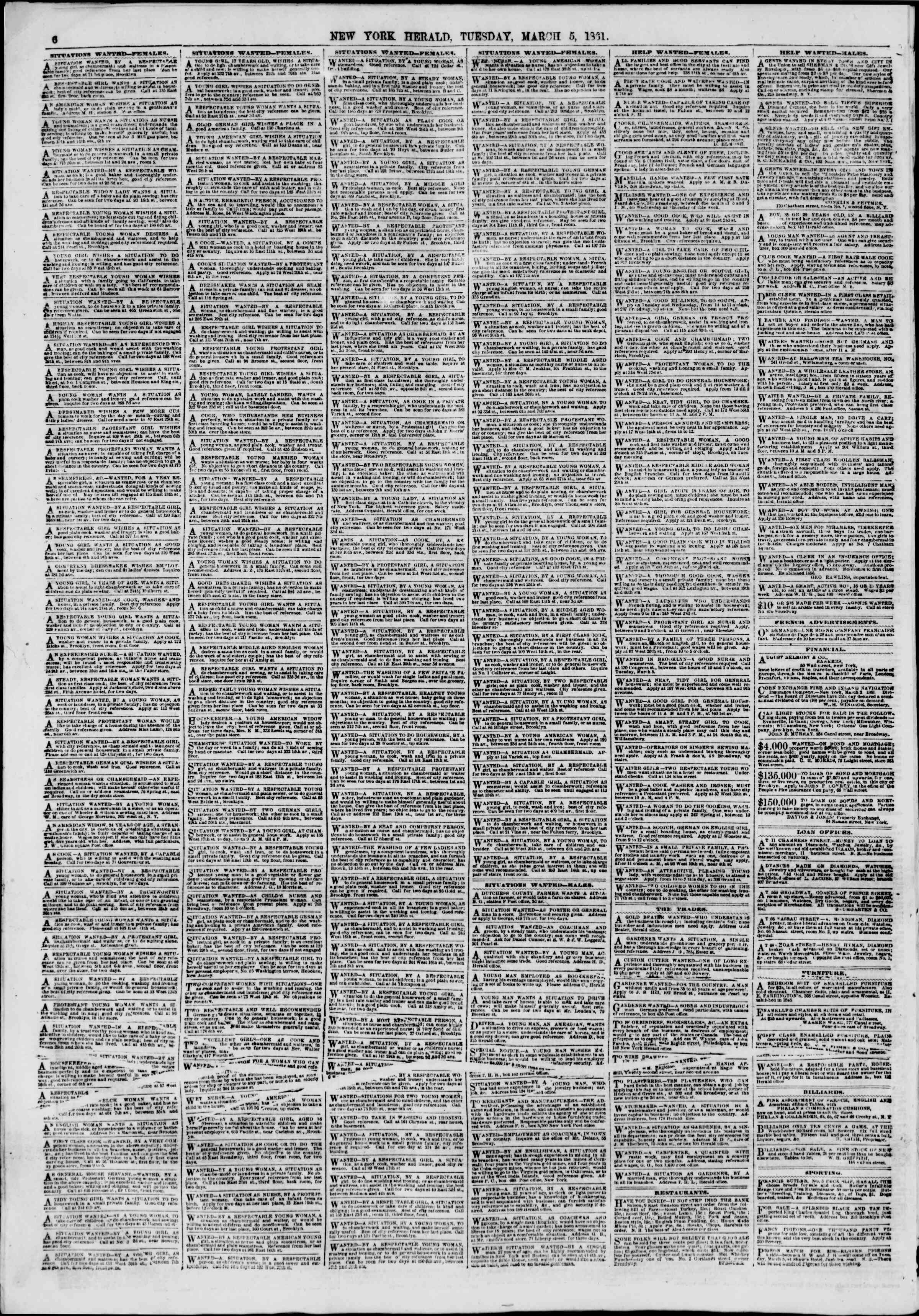 Newspaper of The New York Herald dated March 5, 1861 Page 6