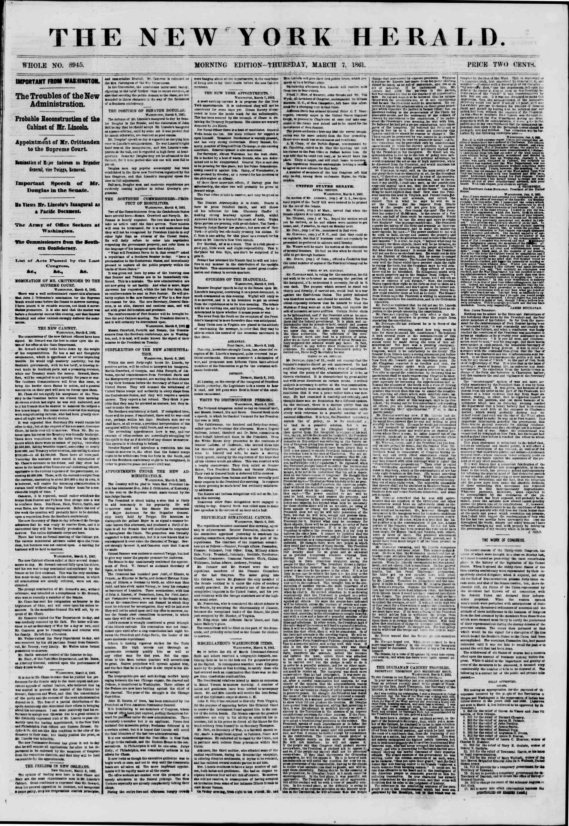 Newspaper of The New York Herald dated March 7, 1861 Page 1