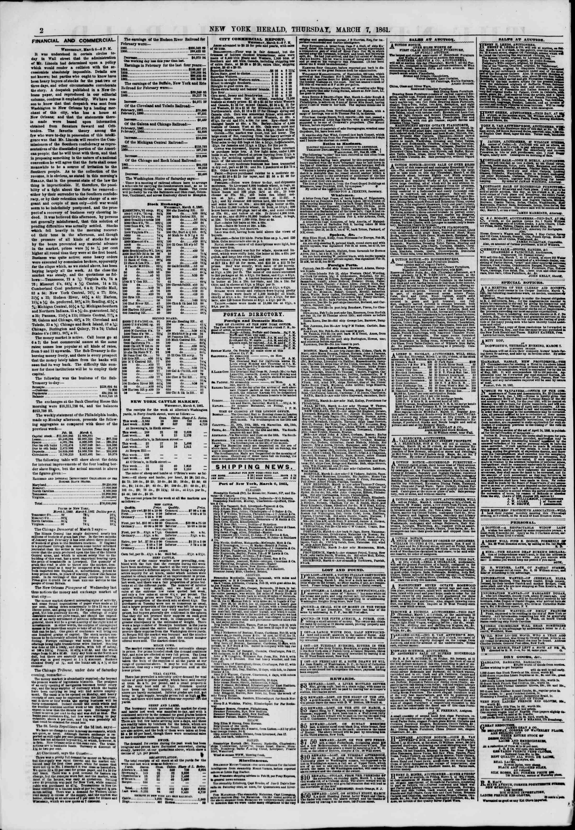Newspaper of The New York Herald dated 7 Mart 1861 Page 2