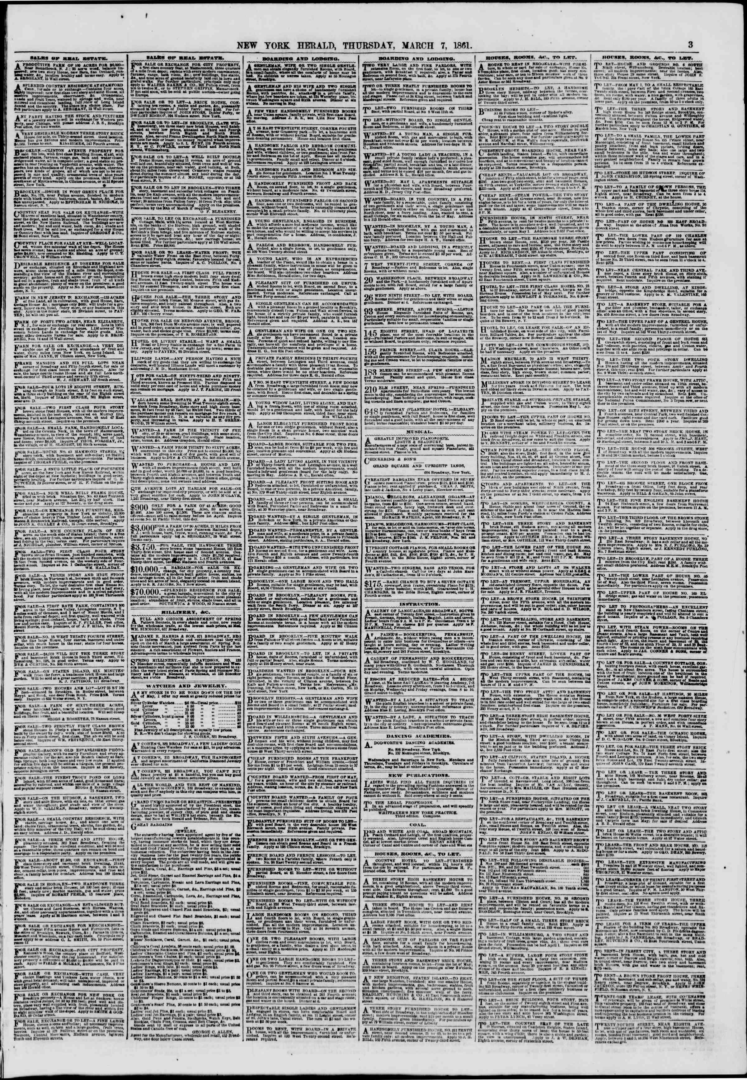 Newspaper of The New York Herald dated March 7, 1861 Page 3