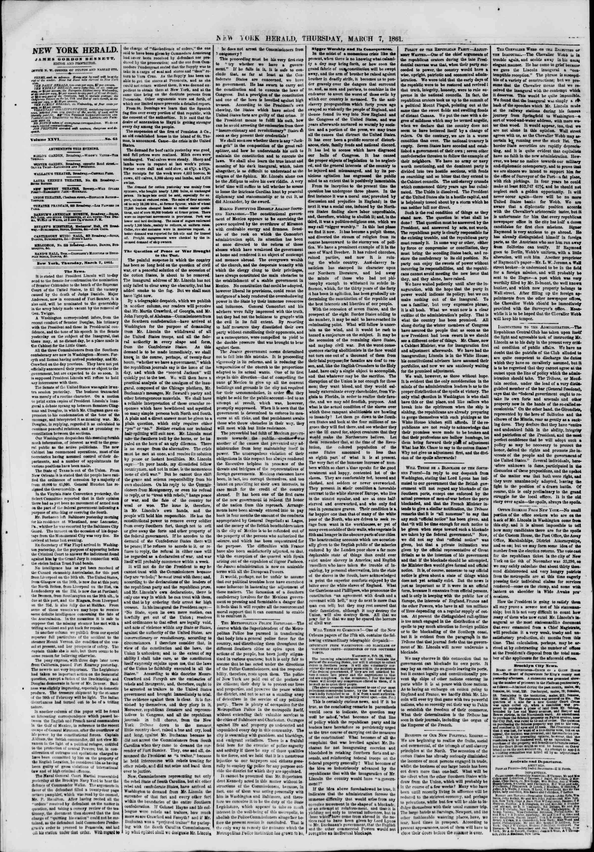 Newspaper of The New York Herald dated March 7, 1861 Page 4