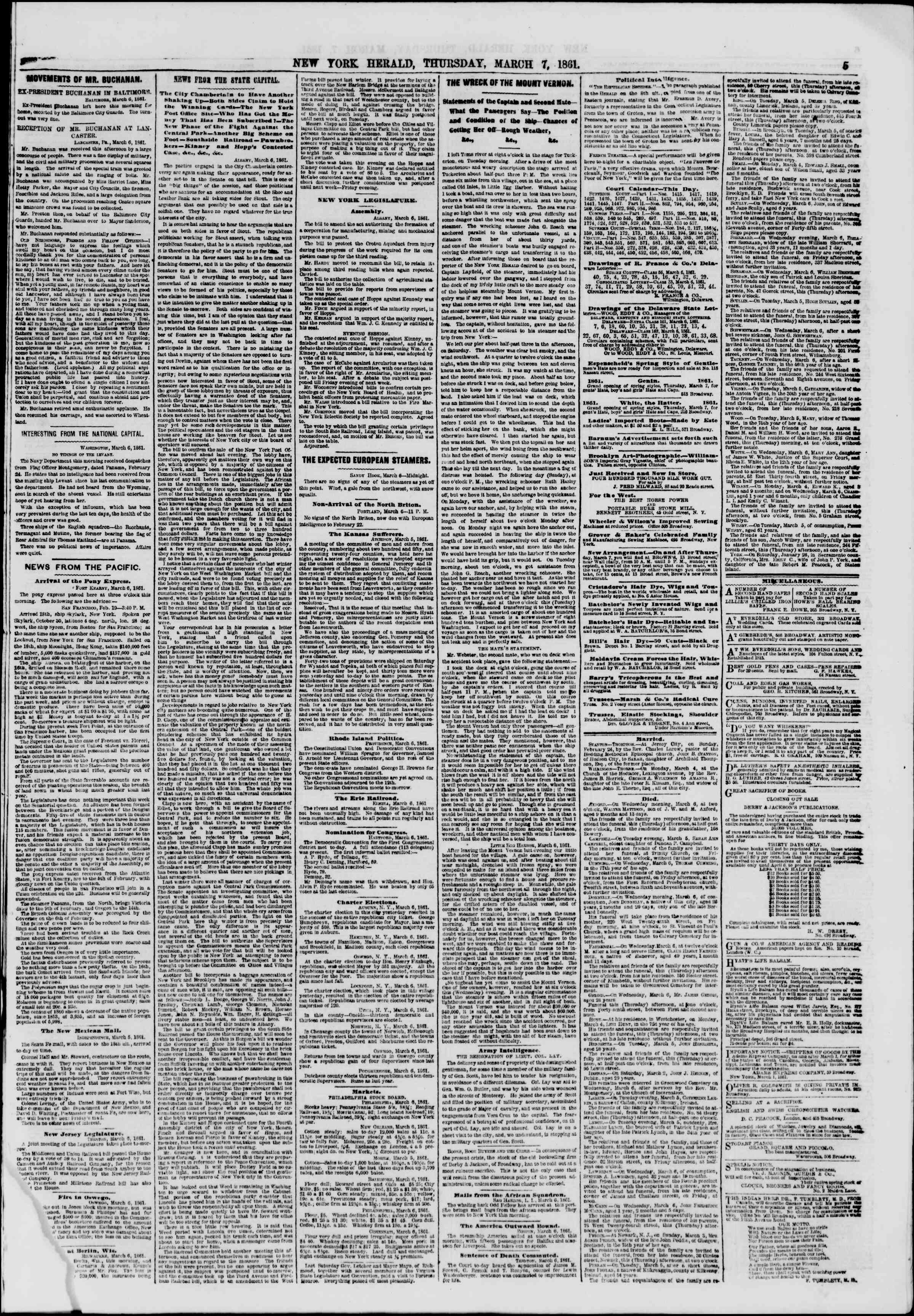 Newspaper of The New York Herald dated March 7, 1861 Page 5