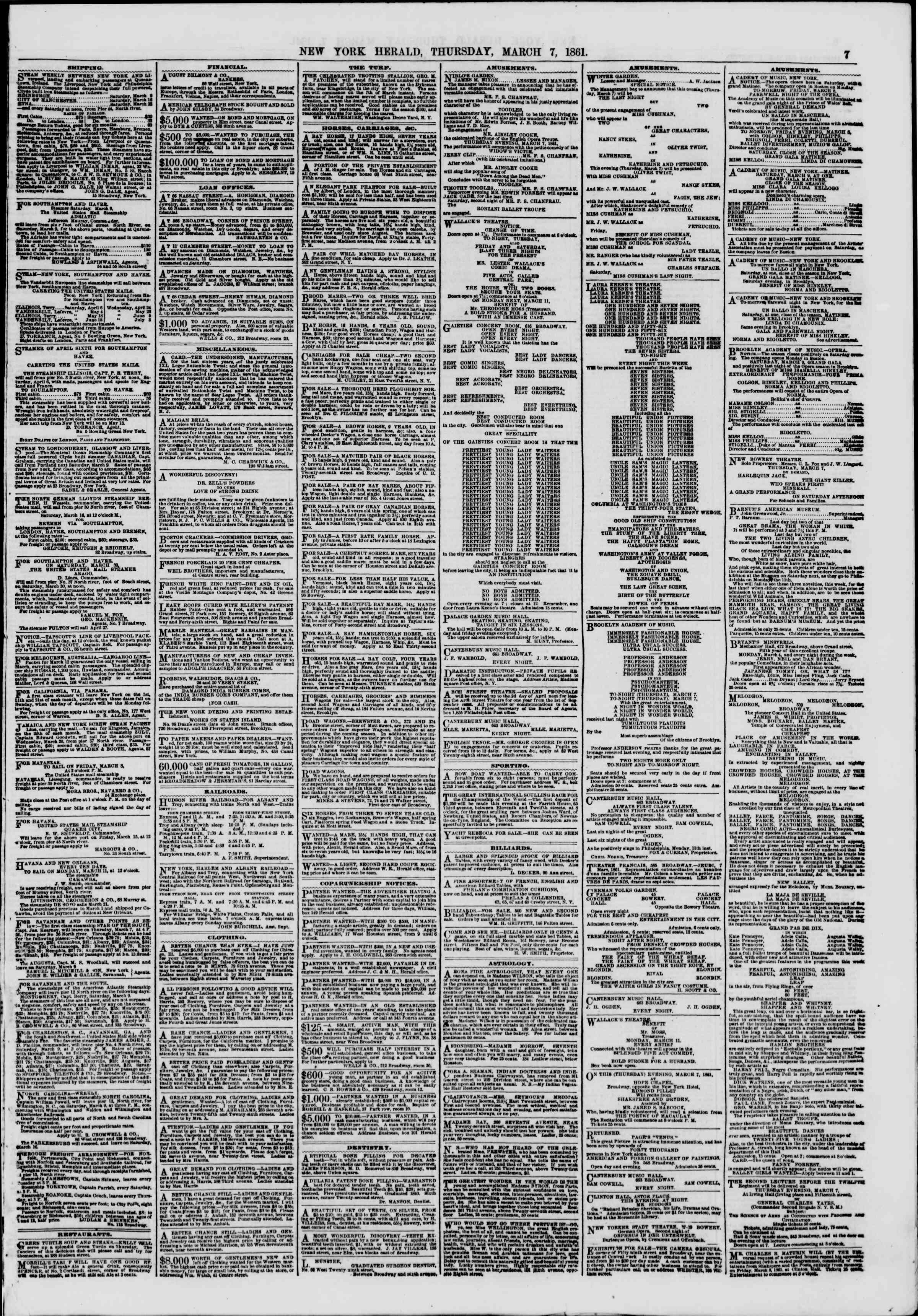 Newspaper of The New York Herald dated March 7, 1861 Page 7