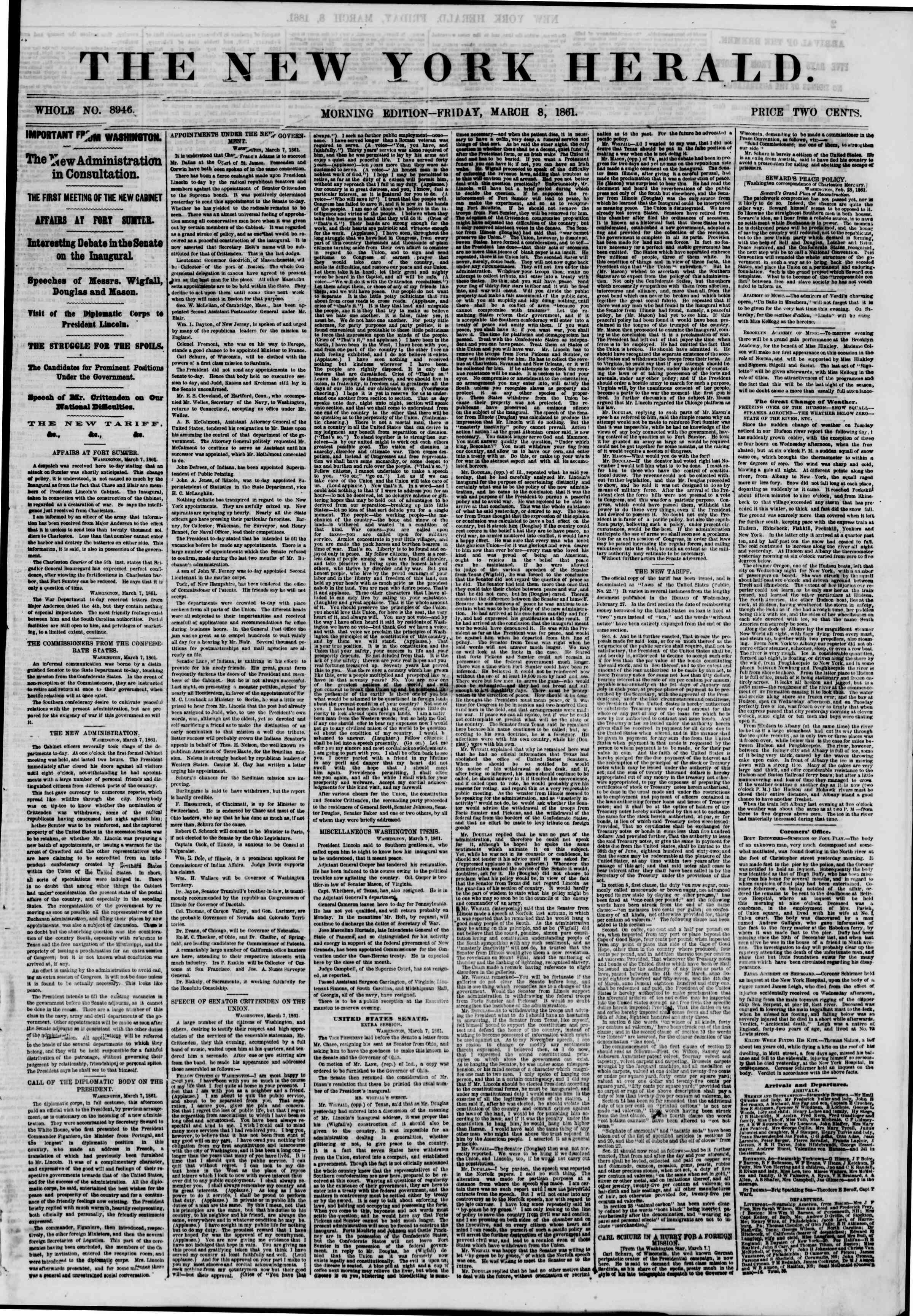 Newspaper of The New York Herald dated March 8, 1861 Page 1