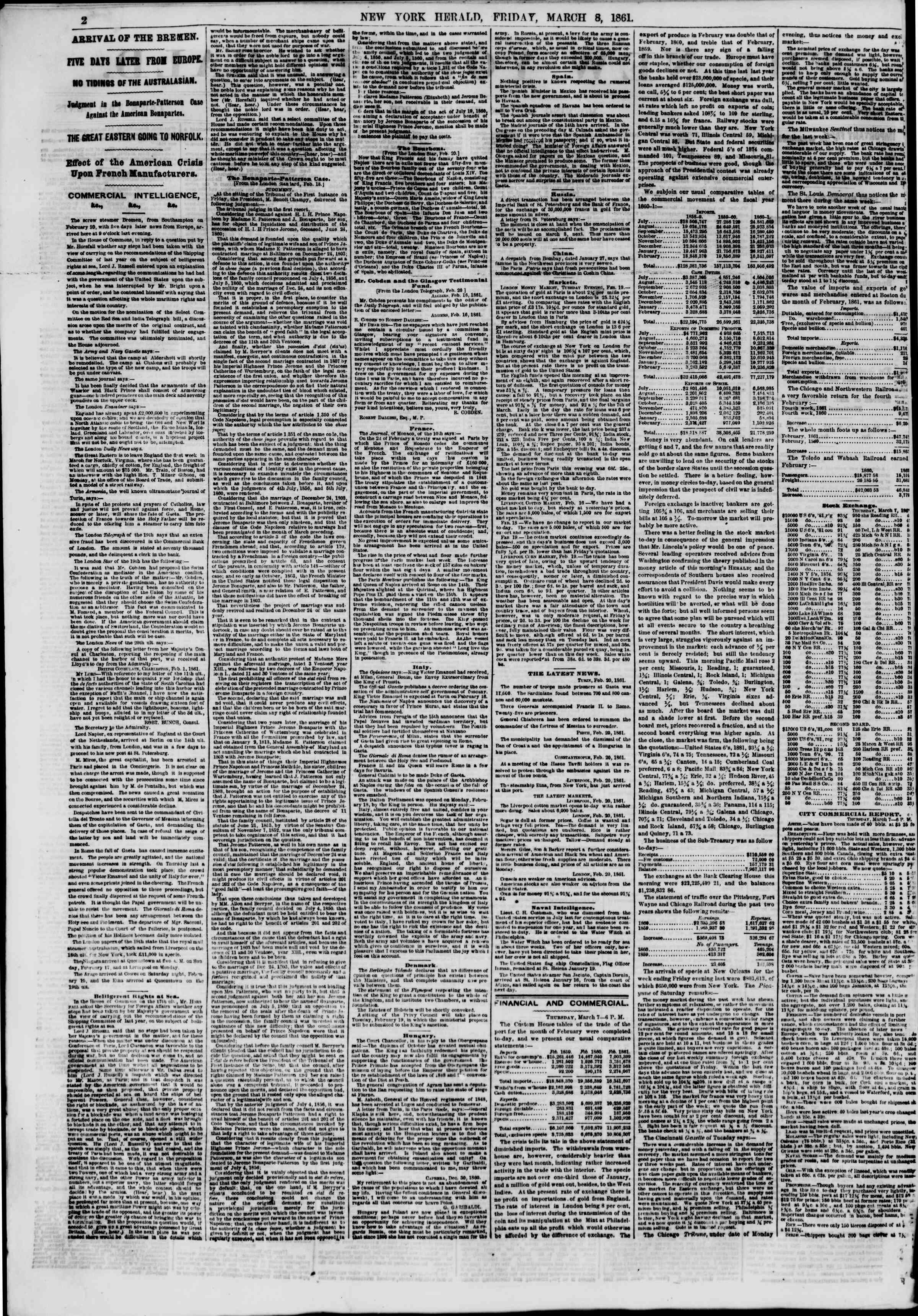 Newspaper of The New York Herald dated March 8, 1861 Page 2