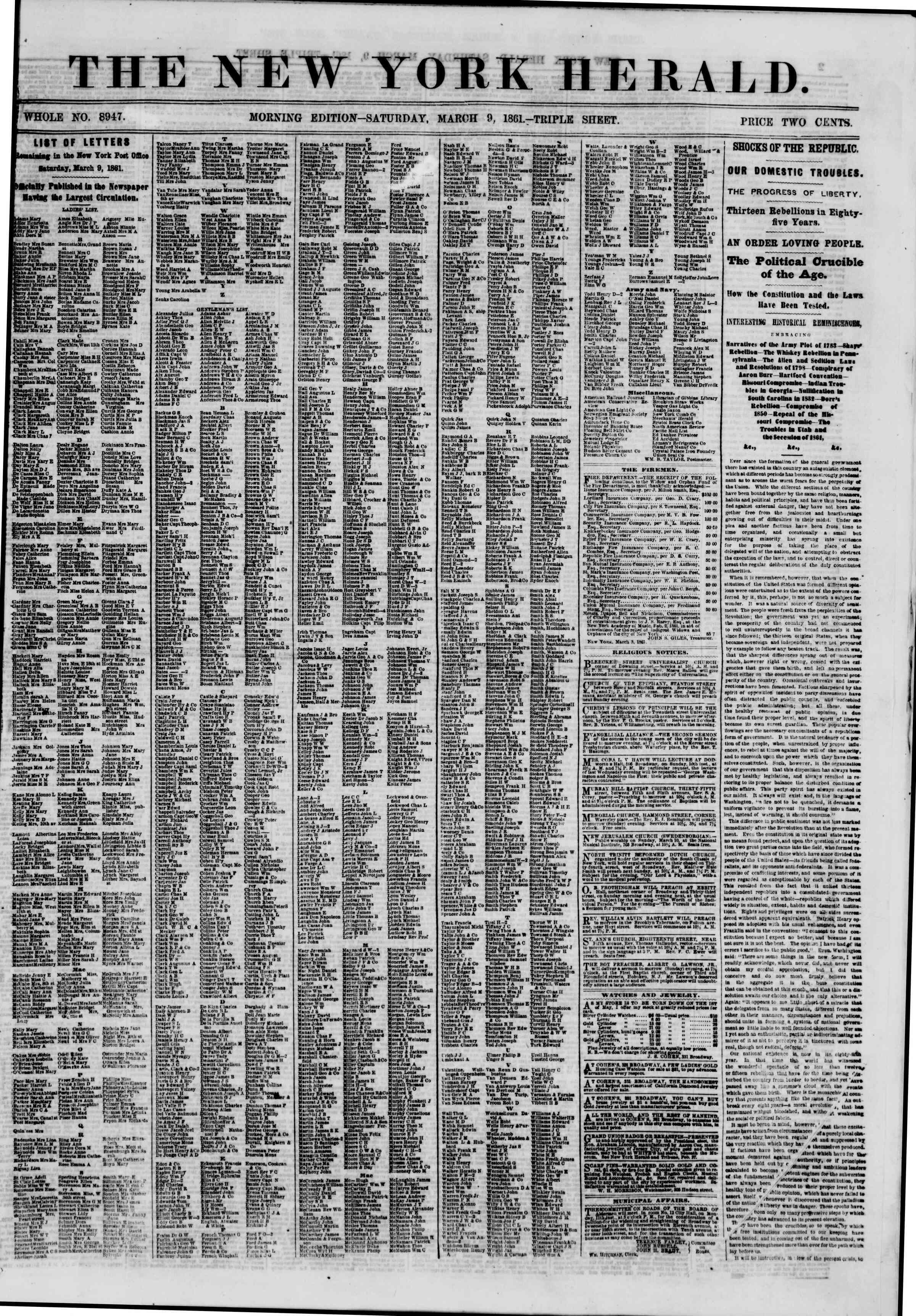 Newspaper of The New York Herald dated March 9, 1861 Page 1