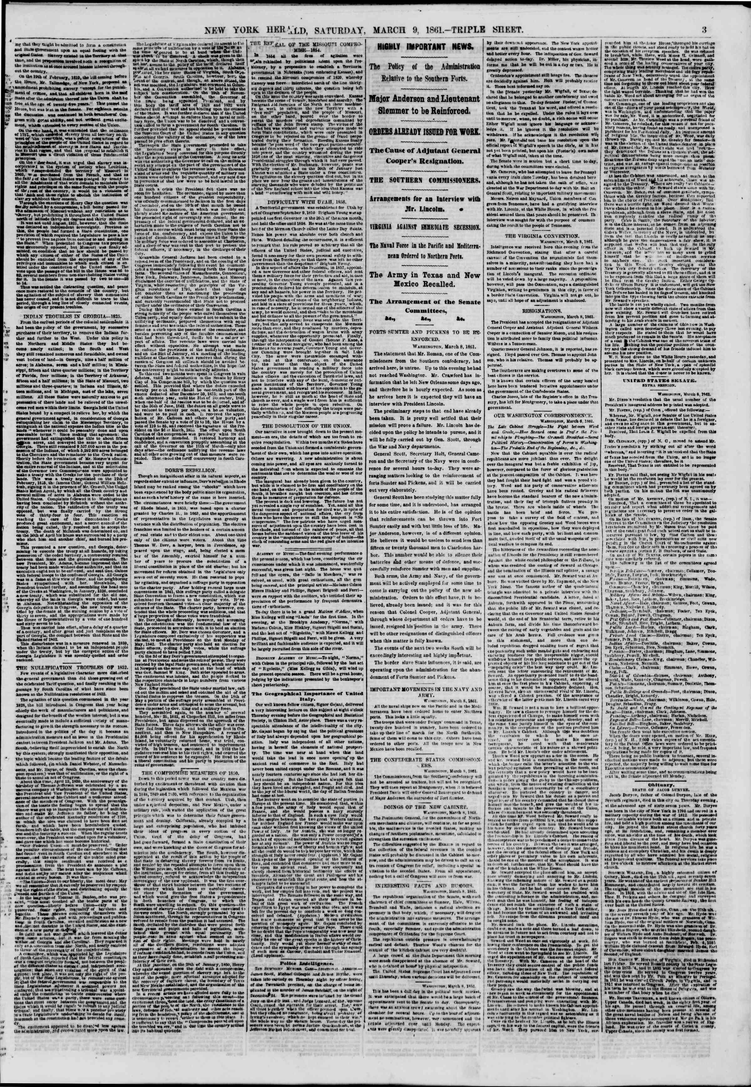 Newspaper of The New York Herald dated March 9, 1861 Page 3