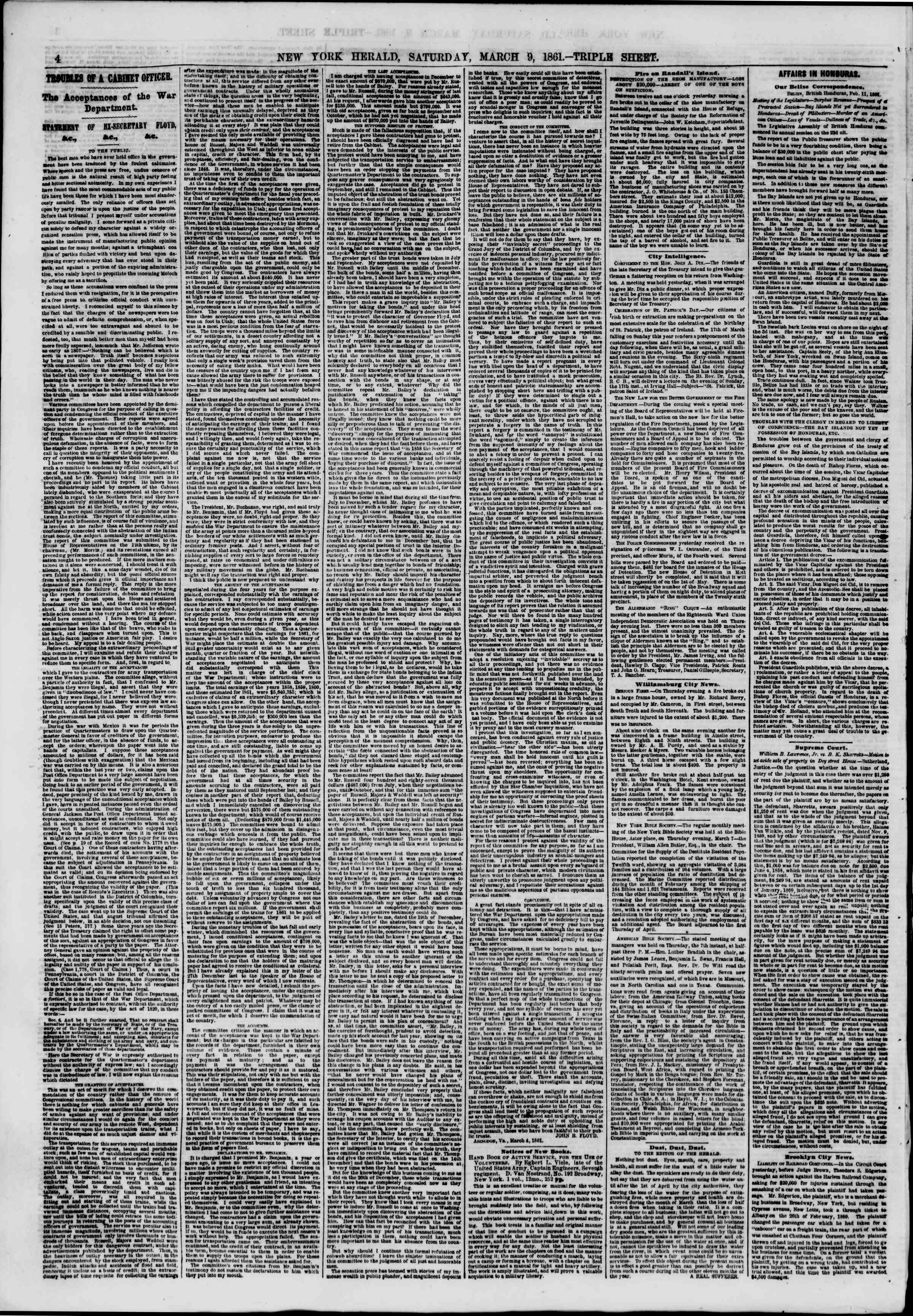Newspaper of The New York Herald dated March 9, 1861 Page 4