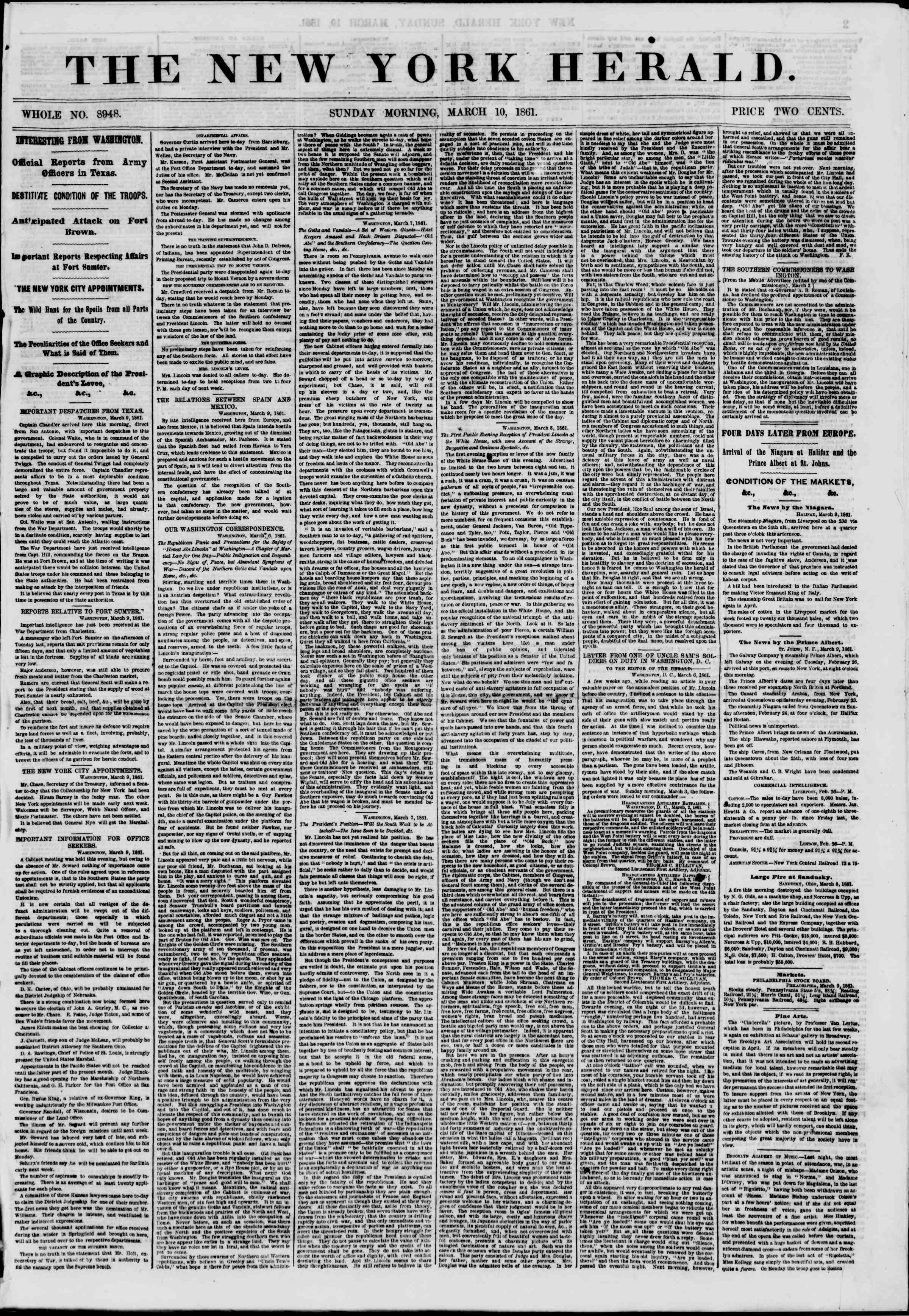 Newspaper of The New York Herald dated March 10, 1861 Page 1