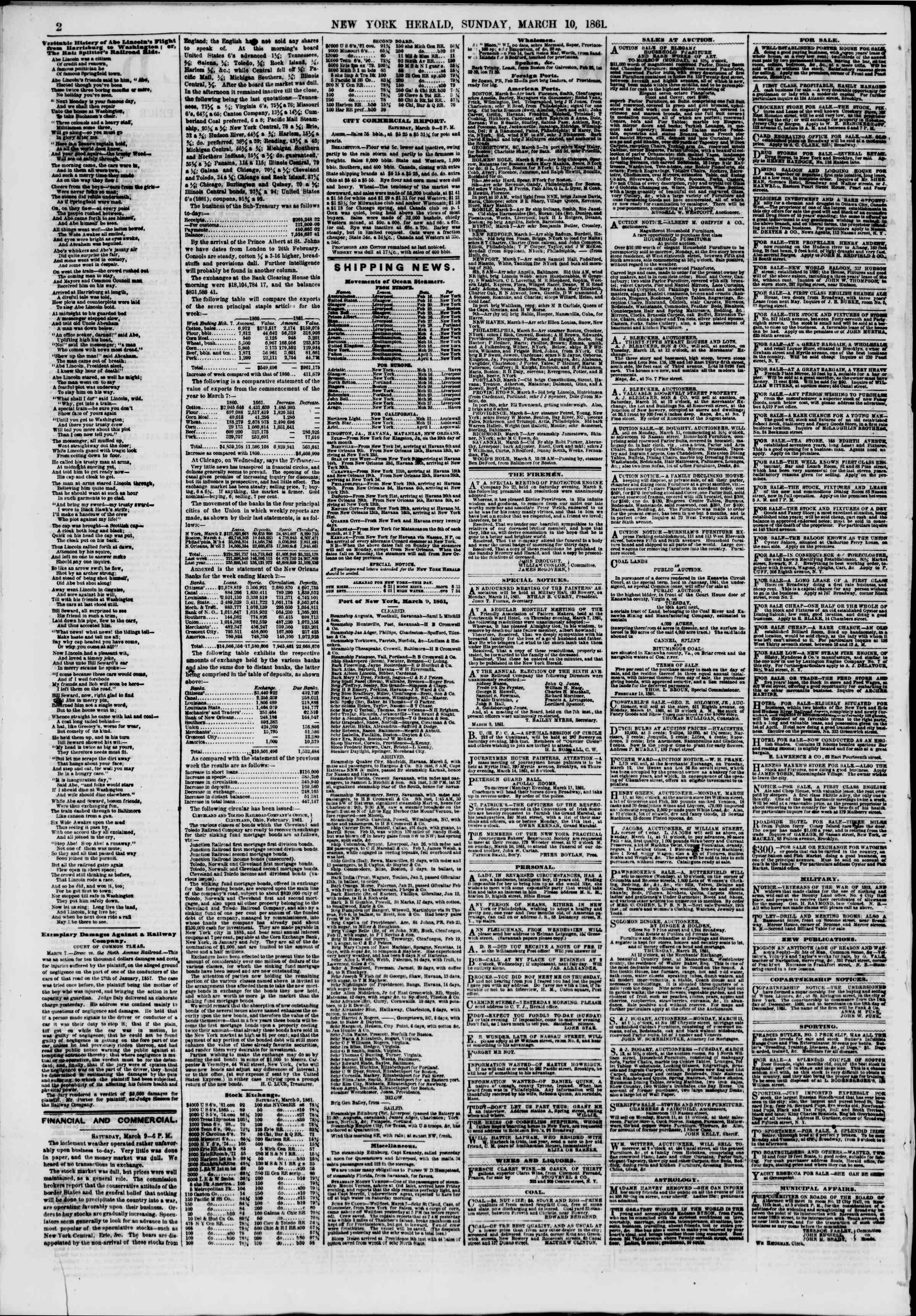 10 Mart 1861 tarihli The New York Herald Gazetesi Sayfa 2