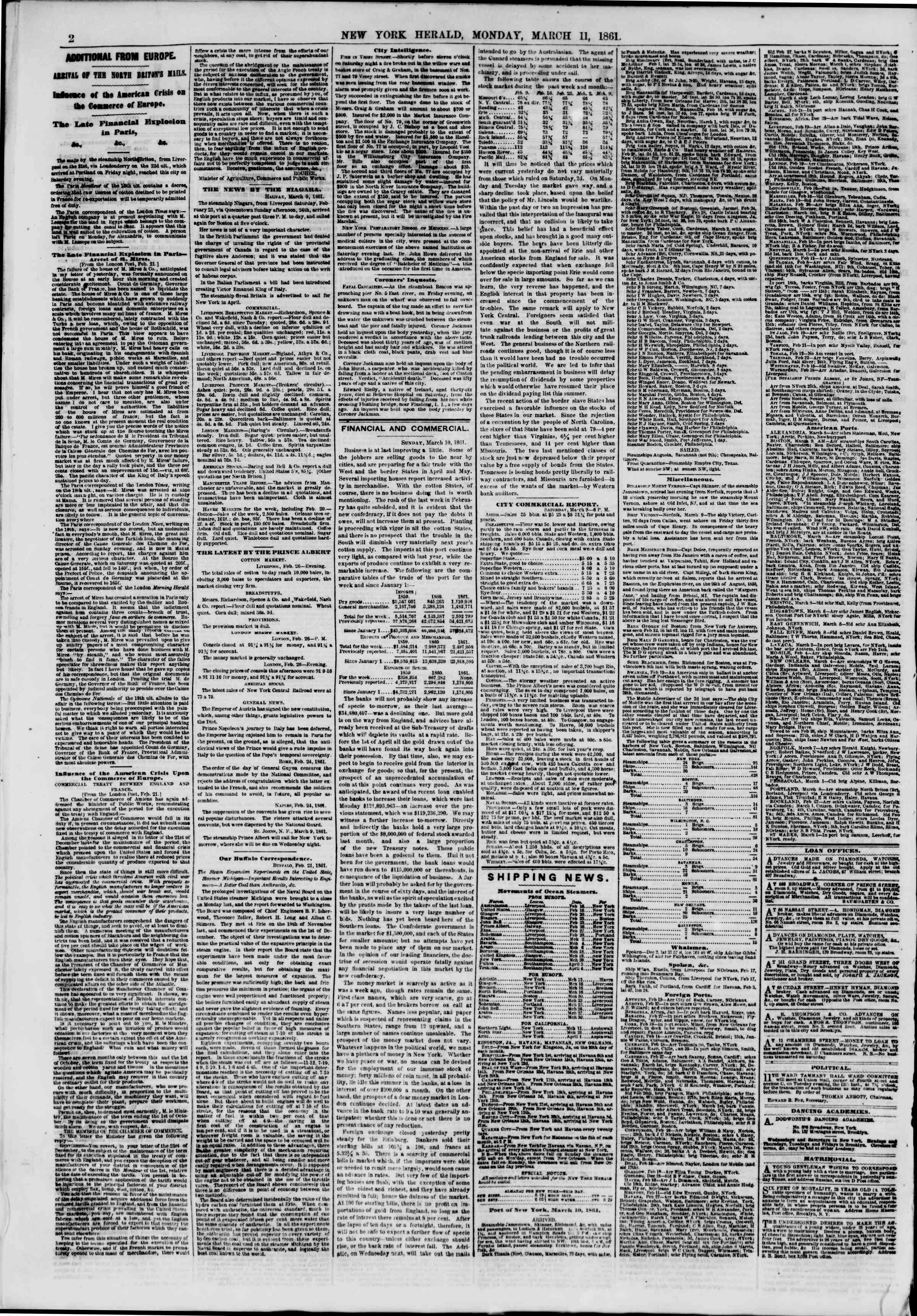 Newspaper of The New York Herald dated March 11, 1861 Page 2