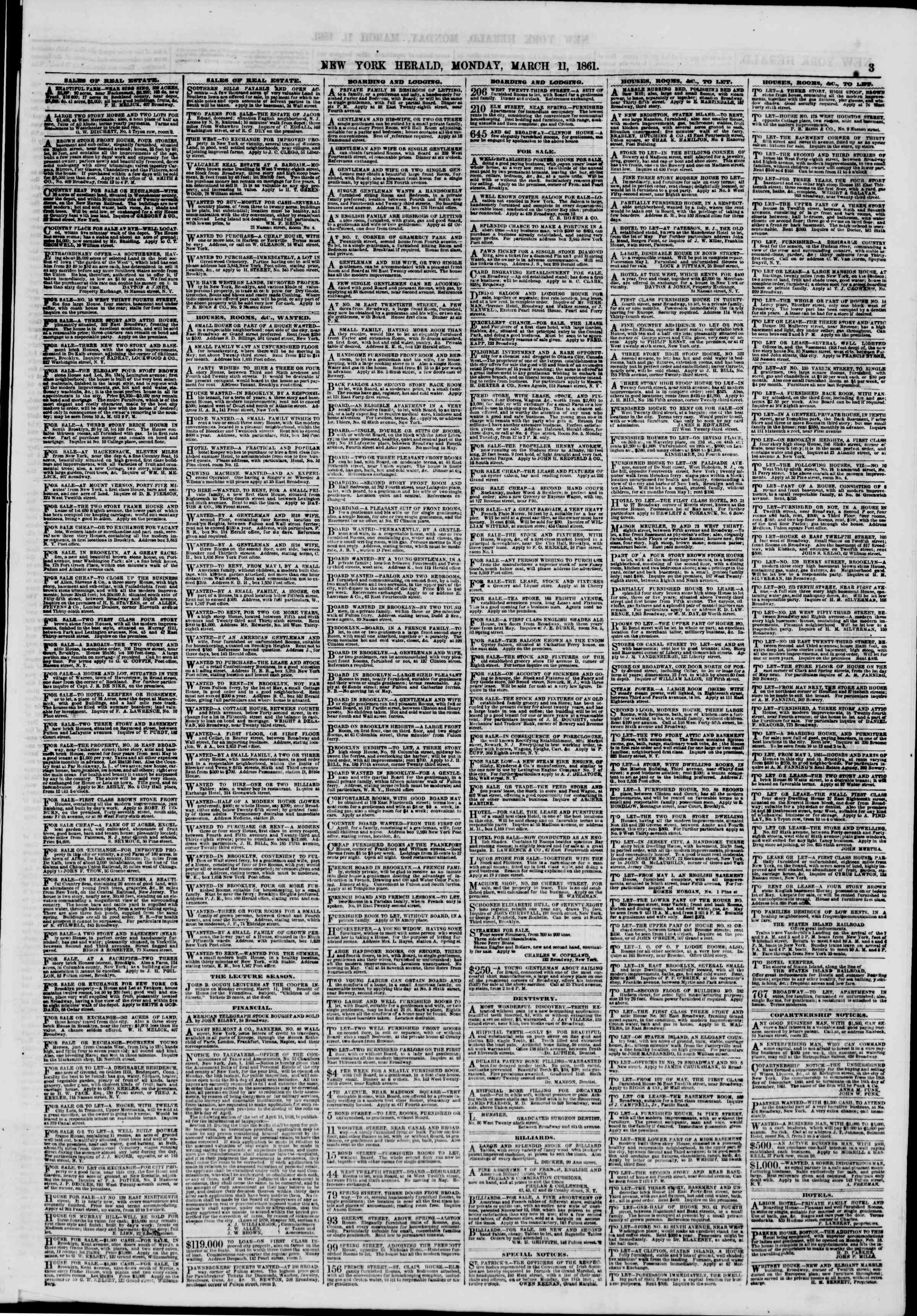 Newspaper of The New York Herald dated March 11, 1861 Page 3