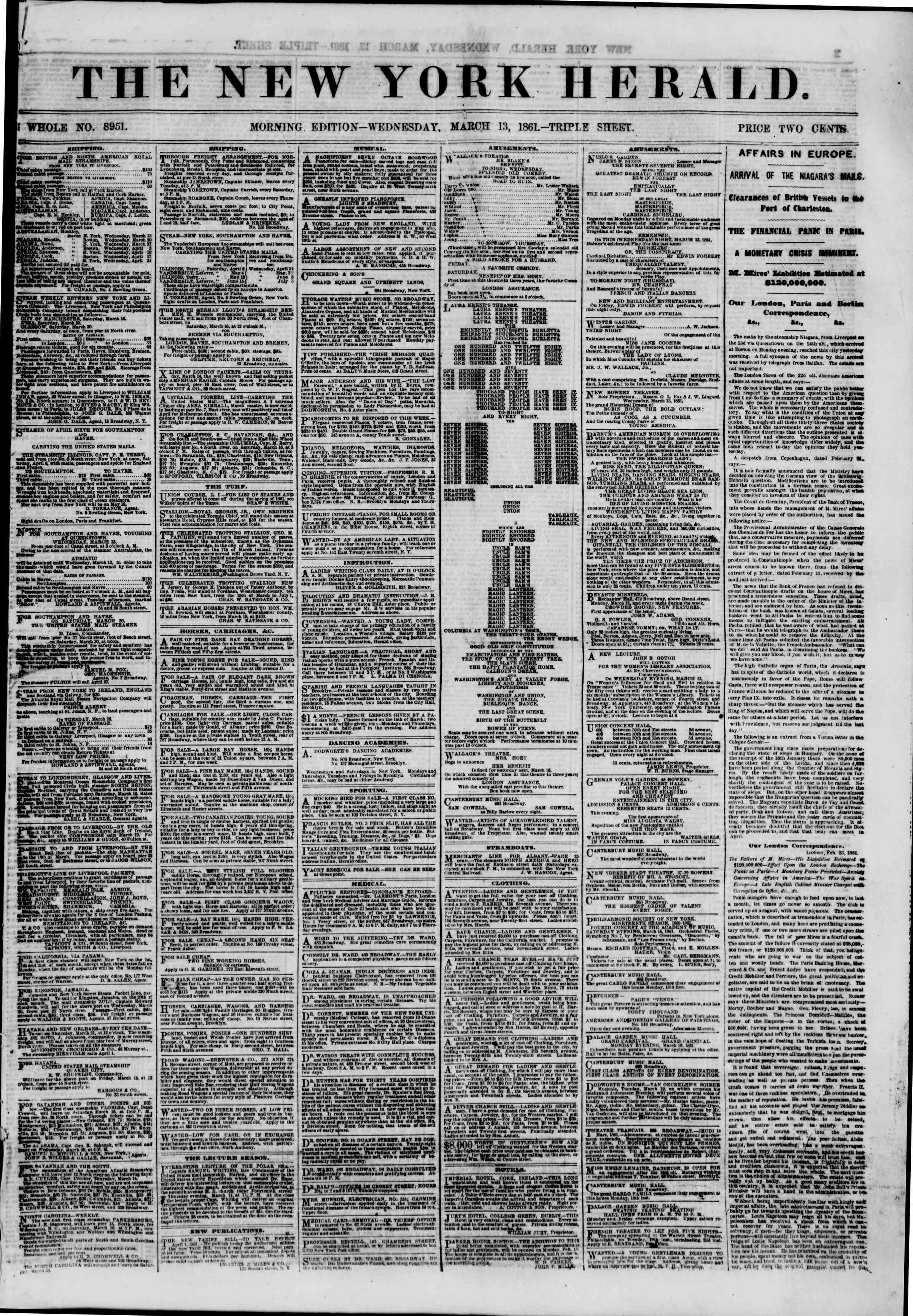Newspaper of The New York Herald dated March 13, 1861 Page 1