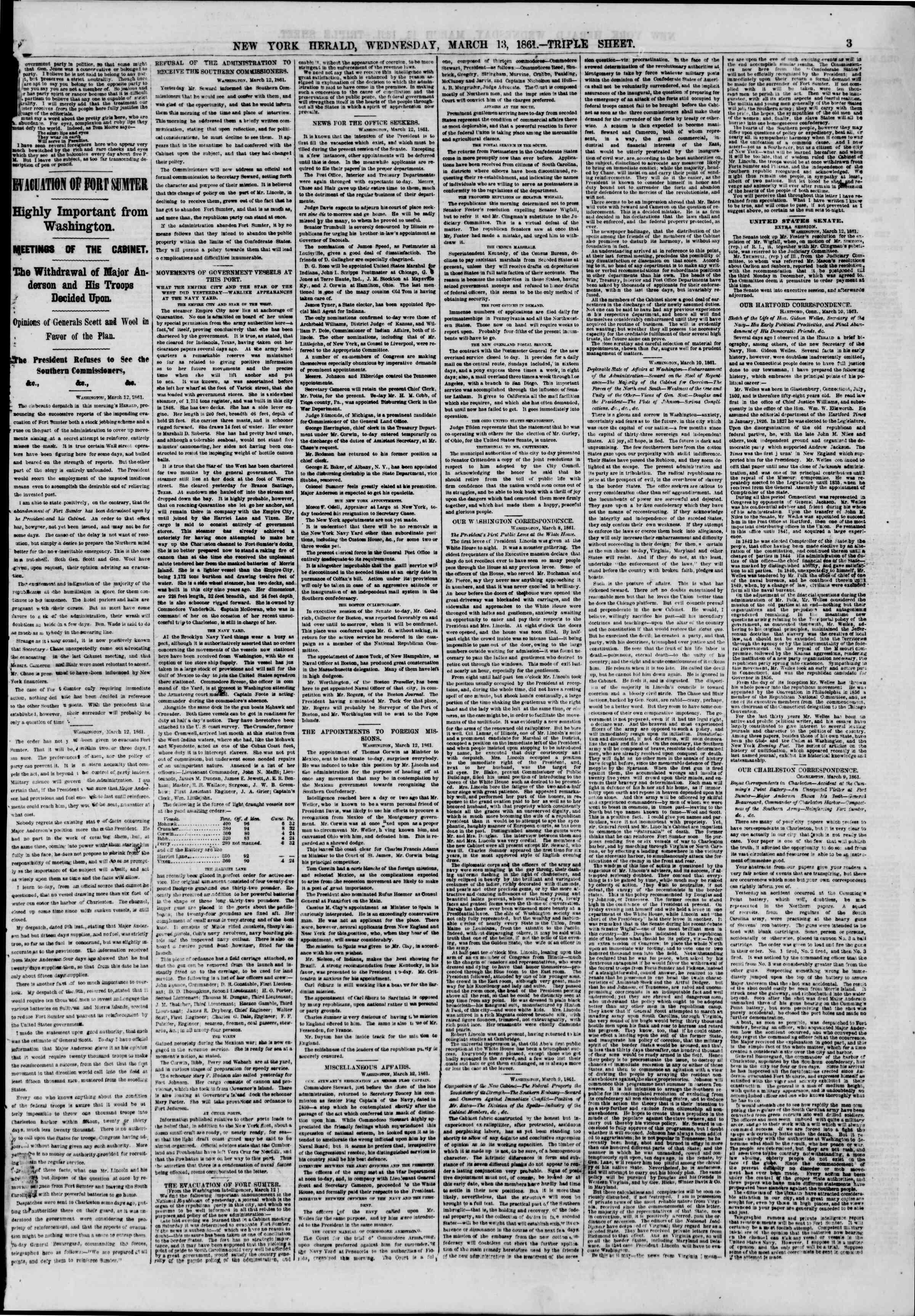 Newspaper of The New York Herald dated March 13, 1861 Page 3