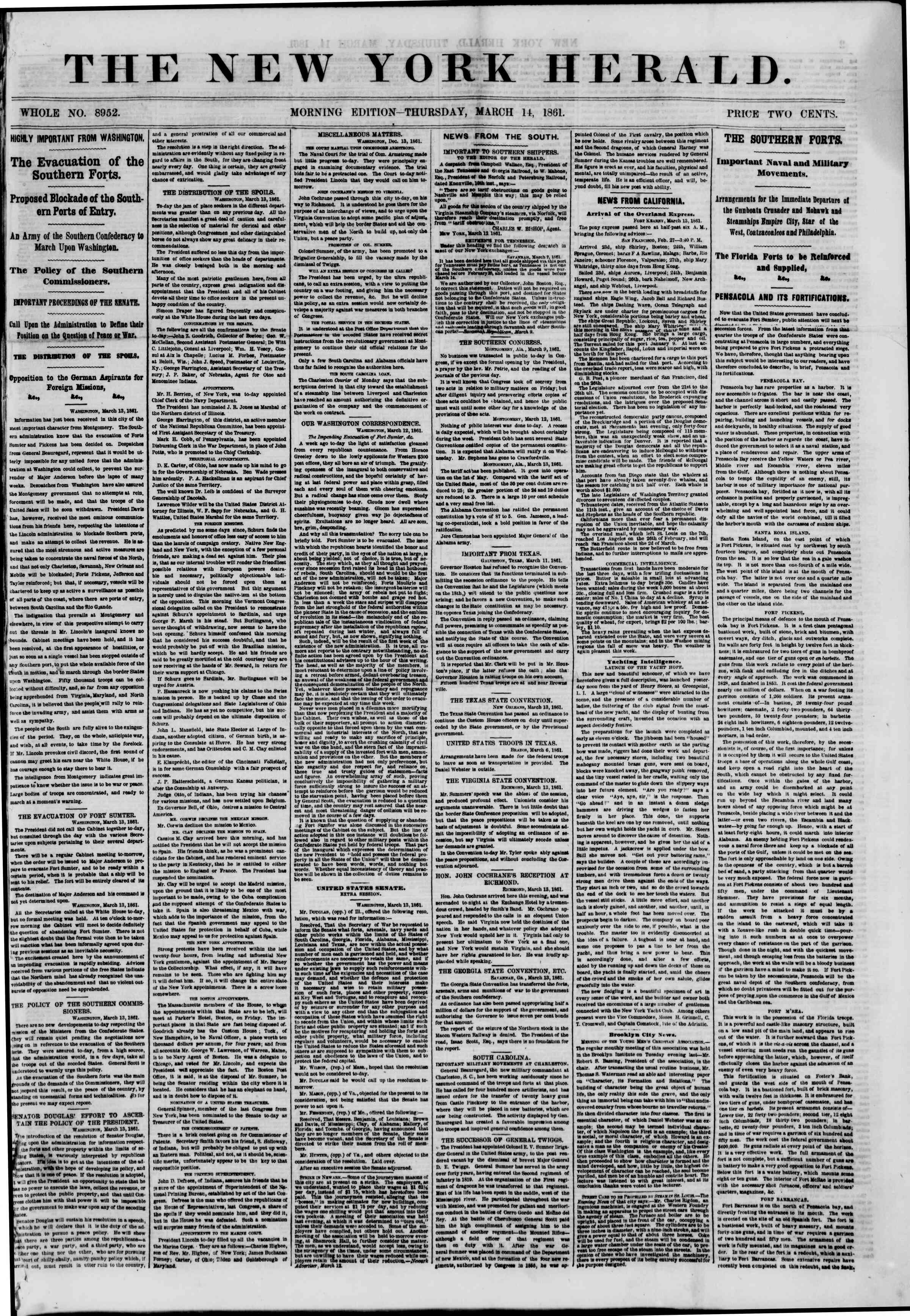 Newspaper of The New York Herald dated March 14, 1861 Page 1