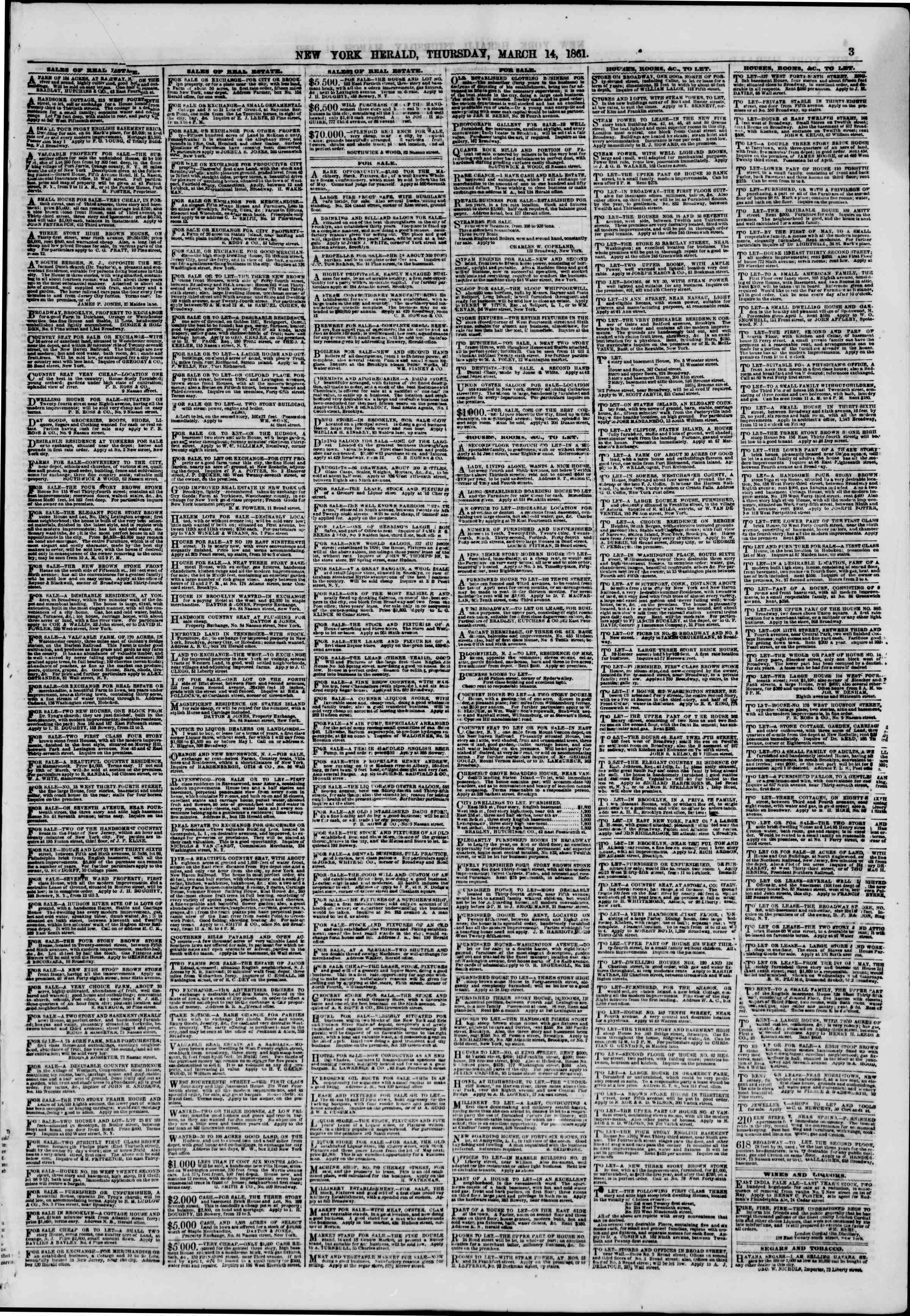 Newspaper of The New York Herald dated March 14, 1861 Page 3