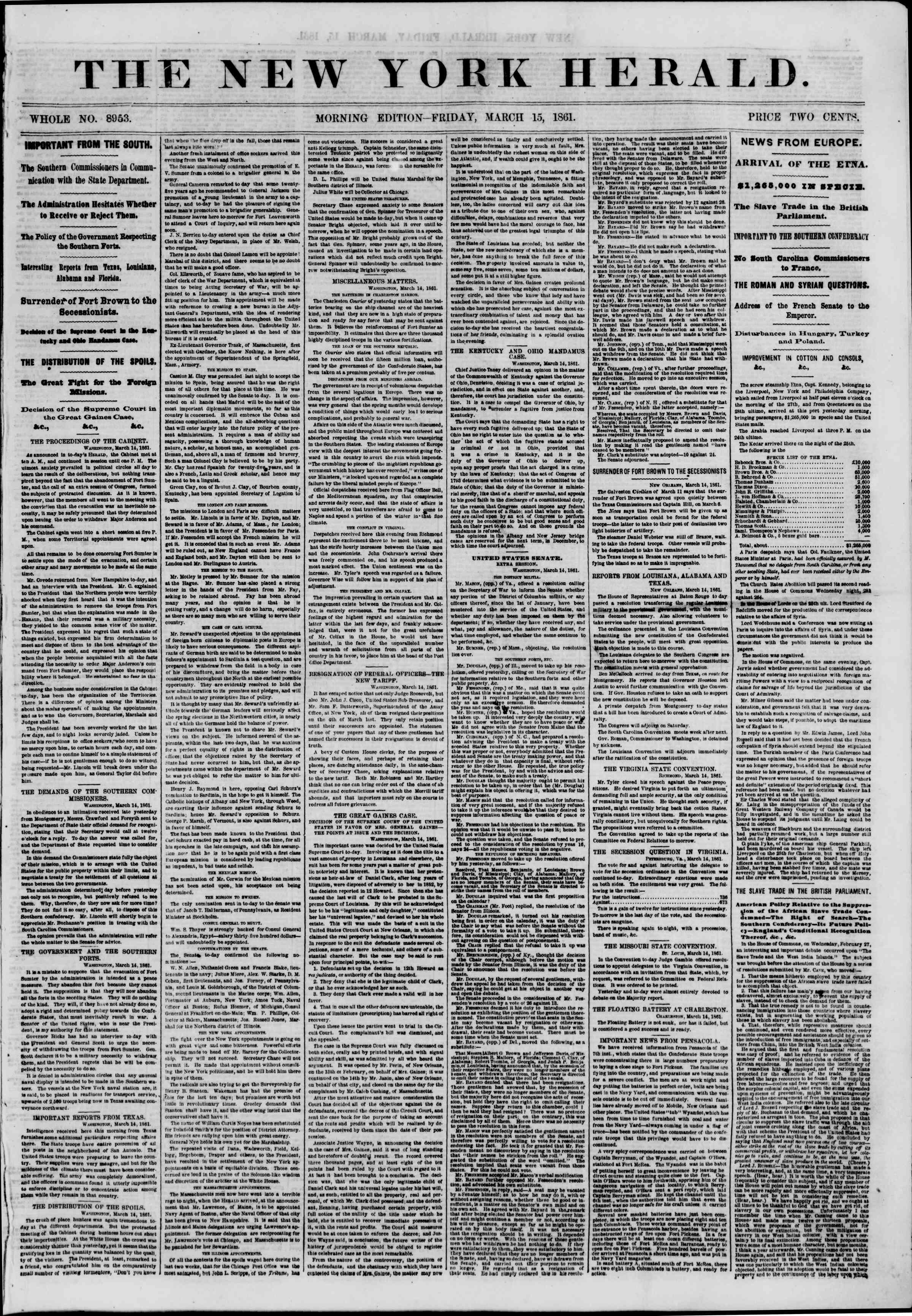 Newspaper of The New York Herald dated March 15, 1861 Page 1