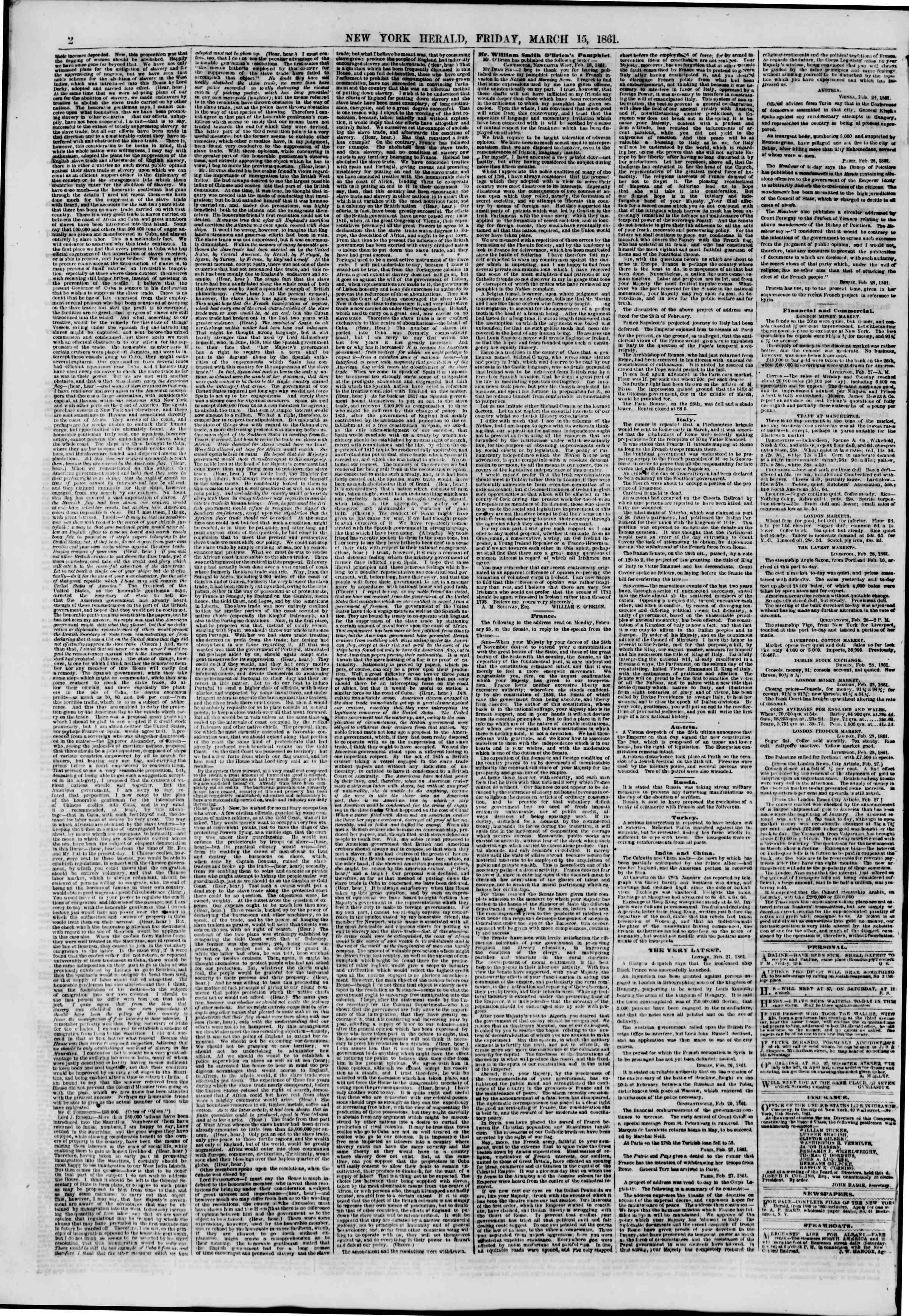15 Mart 1861 tarihli The New York Herald Gazetesi Sayfa 2