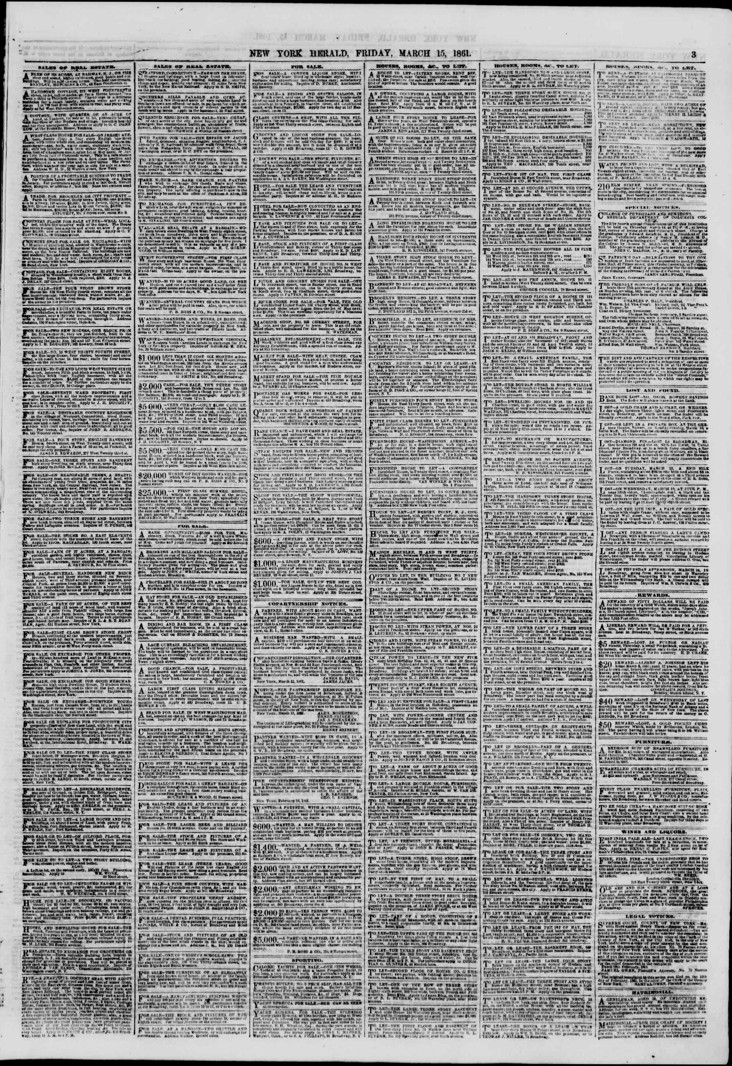 Newspaper of The New York Herald dated March 15, 1861 Page 3