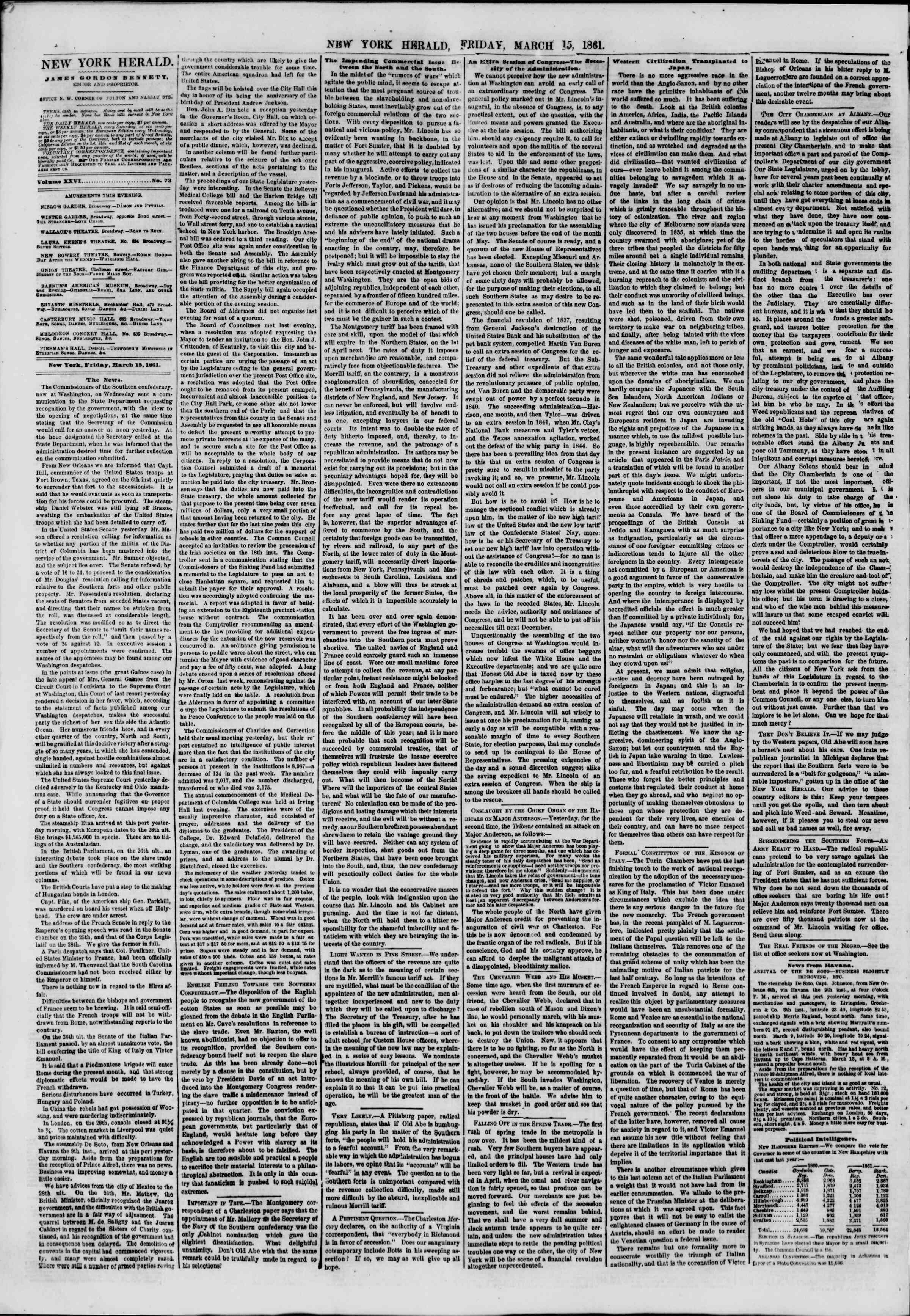 Newspaper of The New York Herald dated March 15, 1861 Page 4