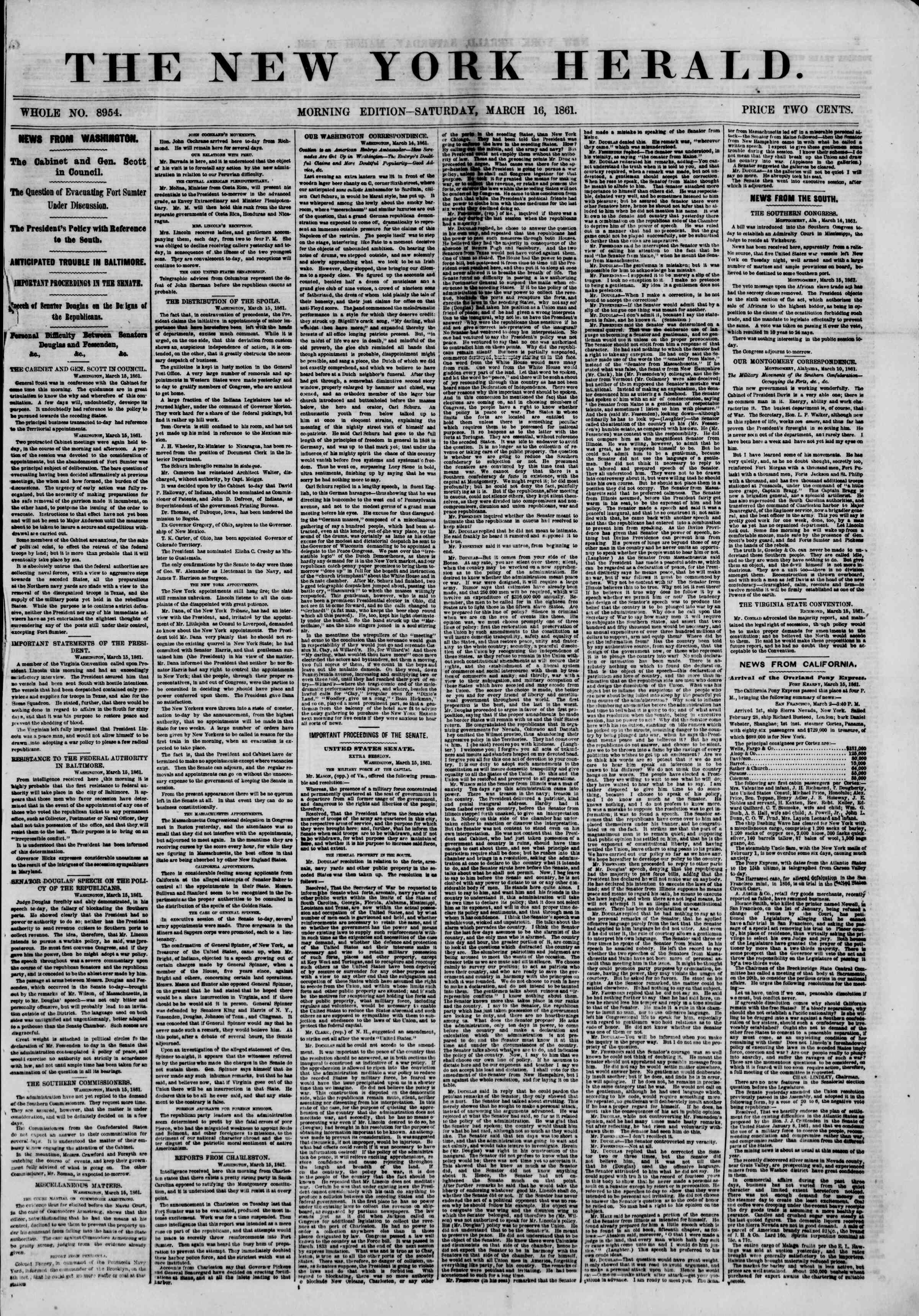Newspaper of The New York Herald dated March 16, 1861 Page 1