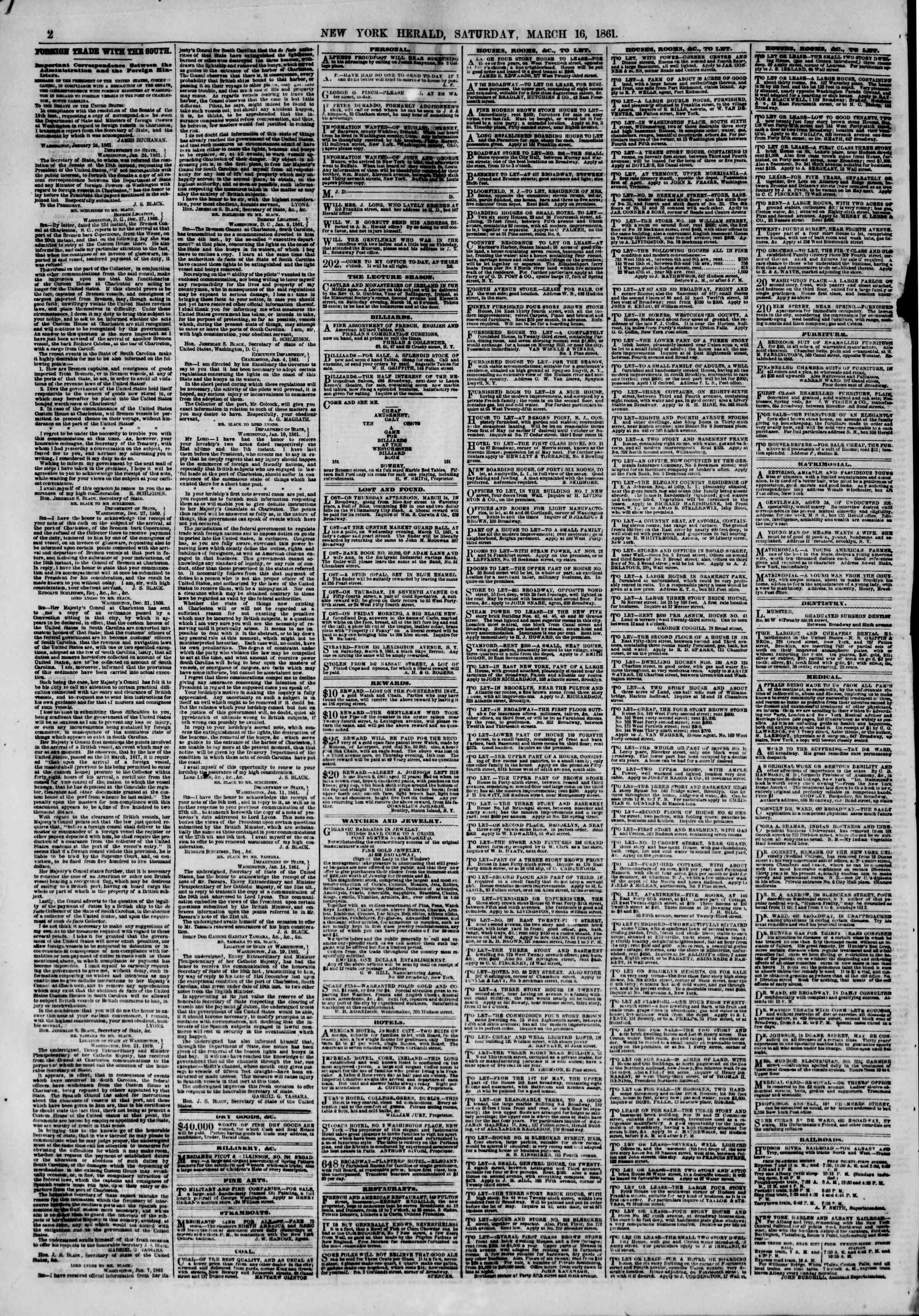 Newspaper of The New York Herald dated March 16, 1861 Page 2