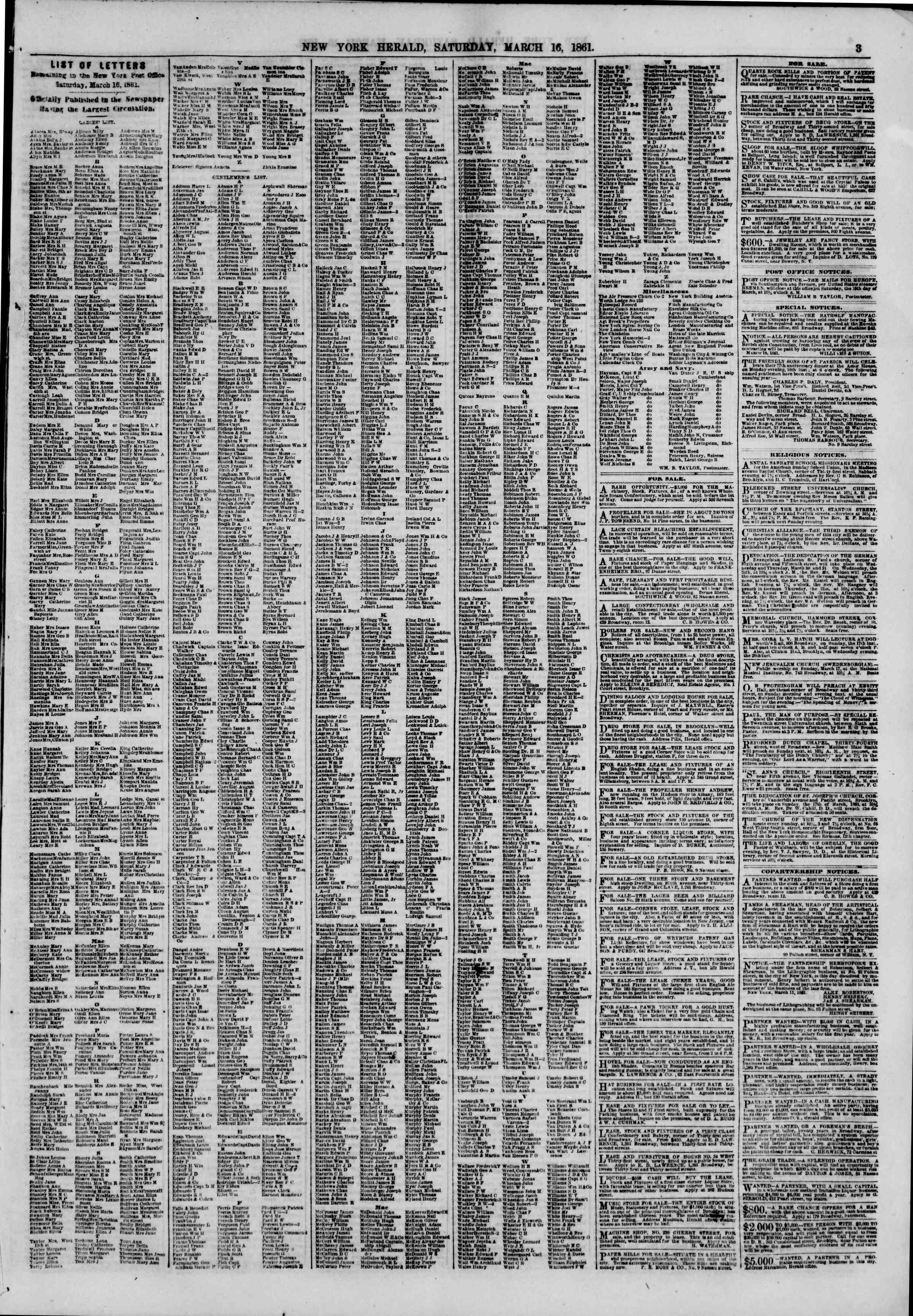 Newspaper of The New York Herald dated March 16, 1861 Page 3
