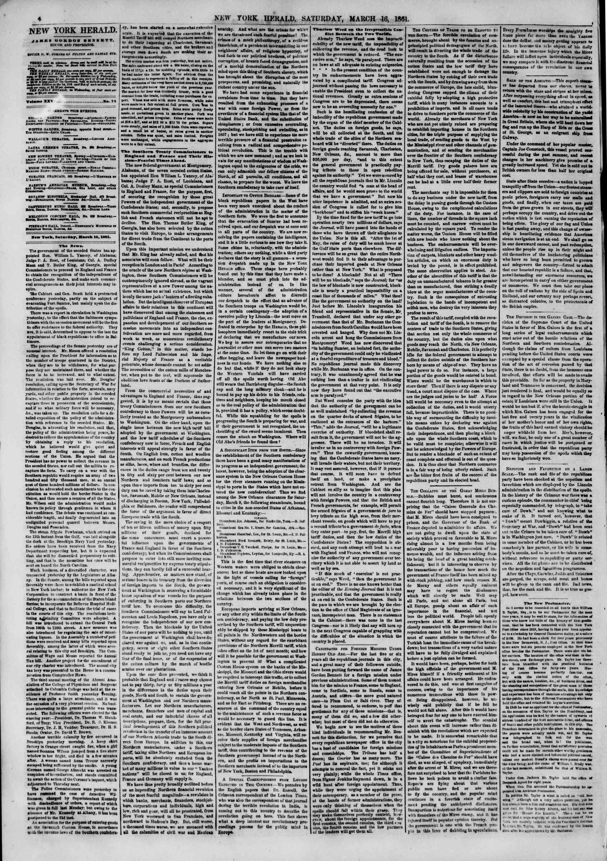 16 Mart 1861 tarihli The New York Herald Gazetesi Sayfa 4