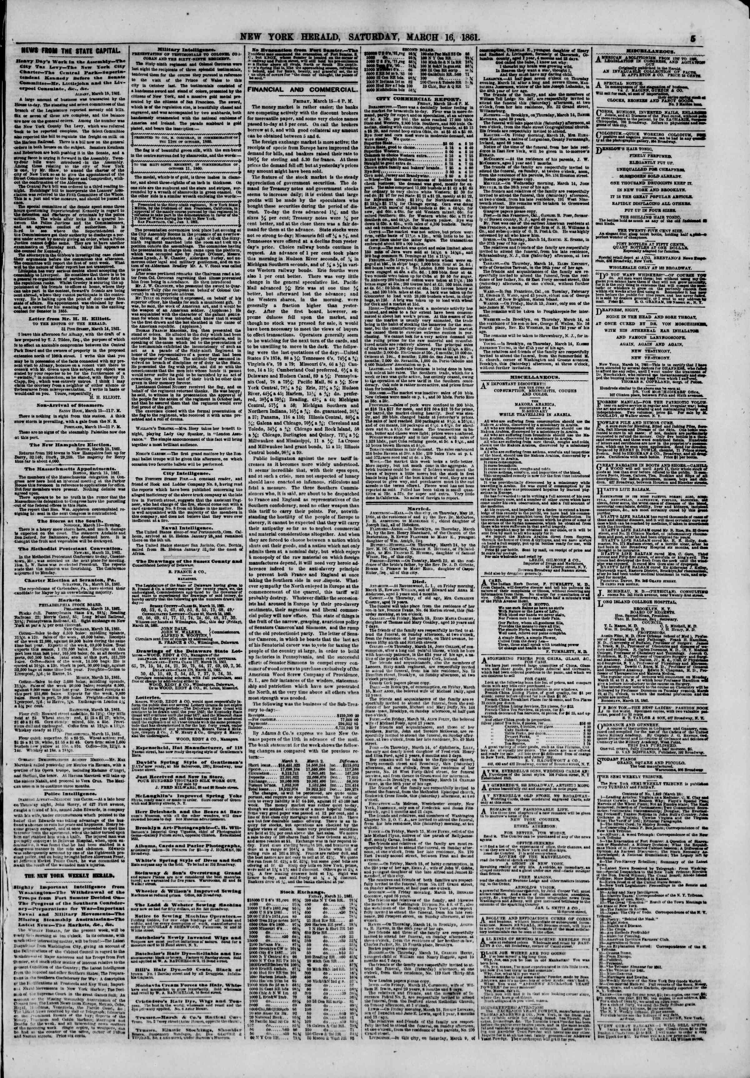 Newspaper of The New York Herald dated March 16, 1861 Page 5
