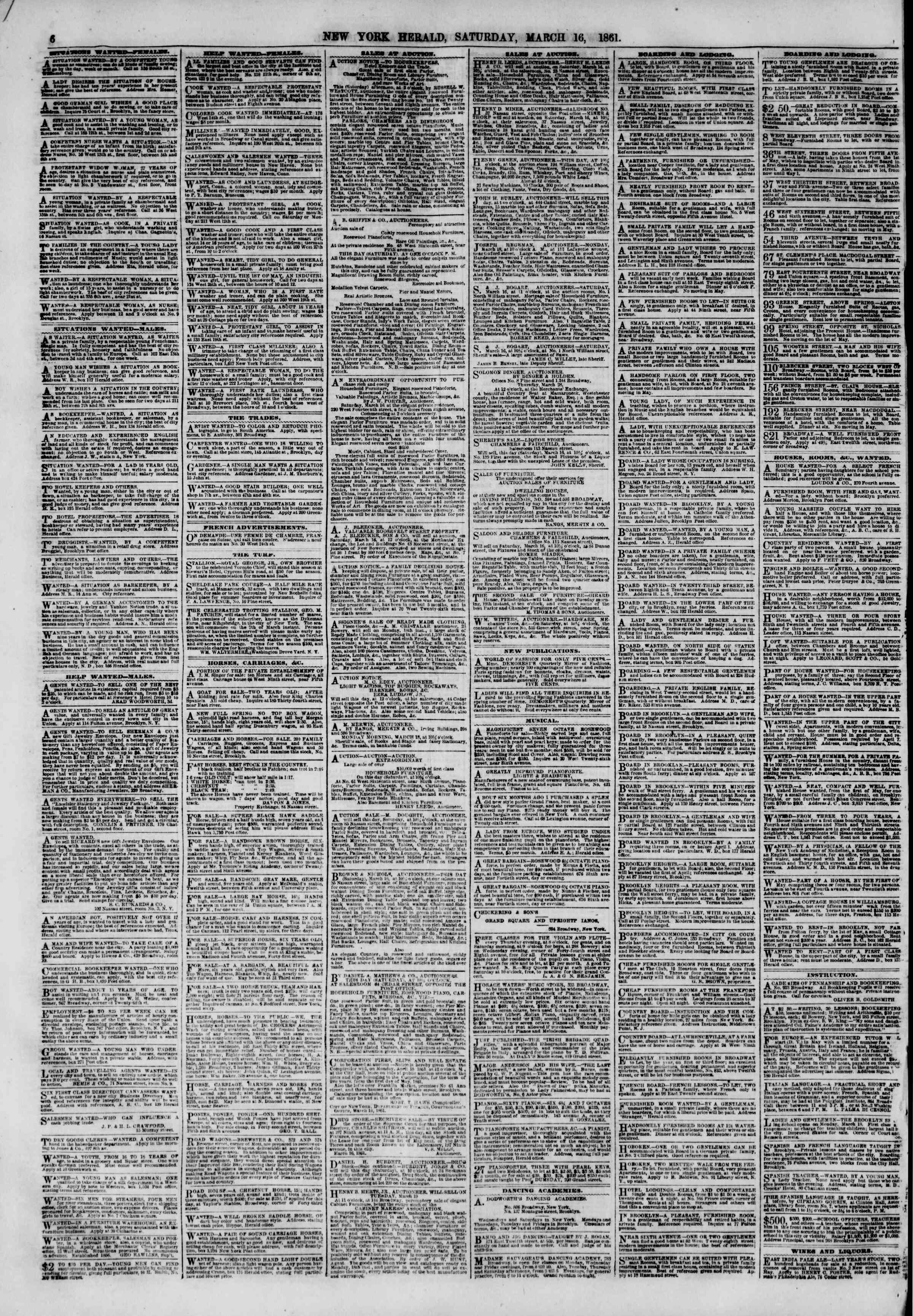 Newspaper of The New York Herald dated March 16, 1861 Page 6
