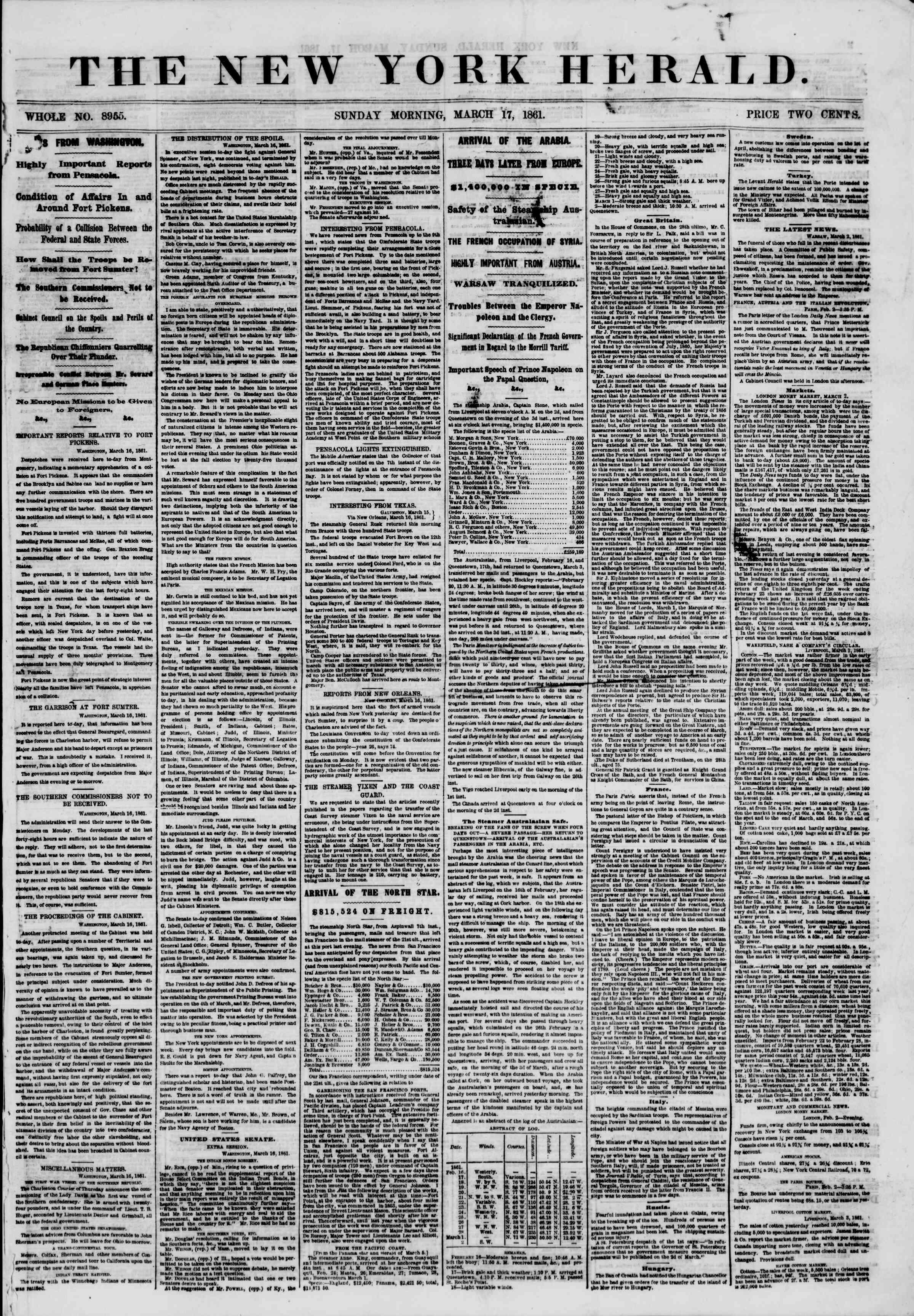 Newspaper of The New York Herald dated March 17, 1861 Page 1