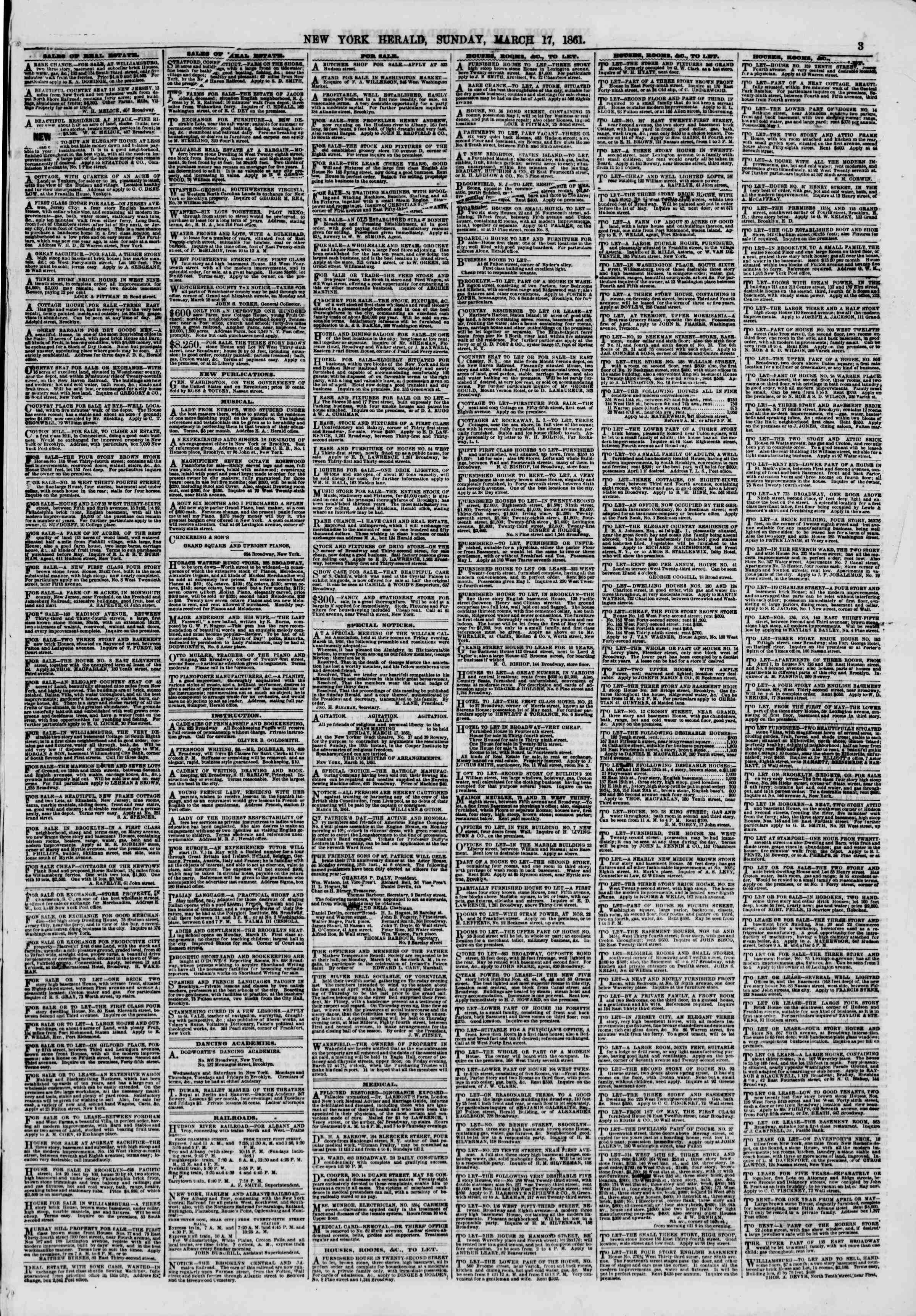 Newspaper of The New York Herald dated March 17, 1861 Page 3