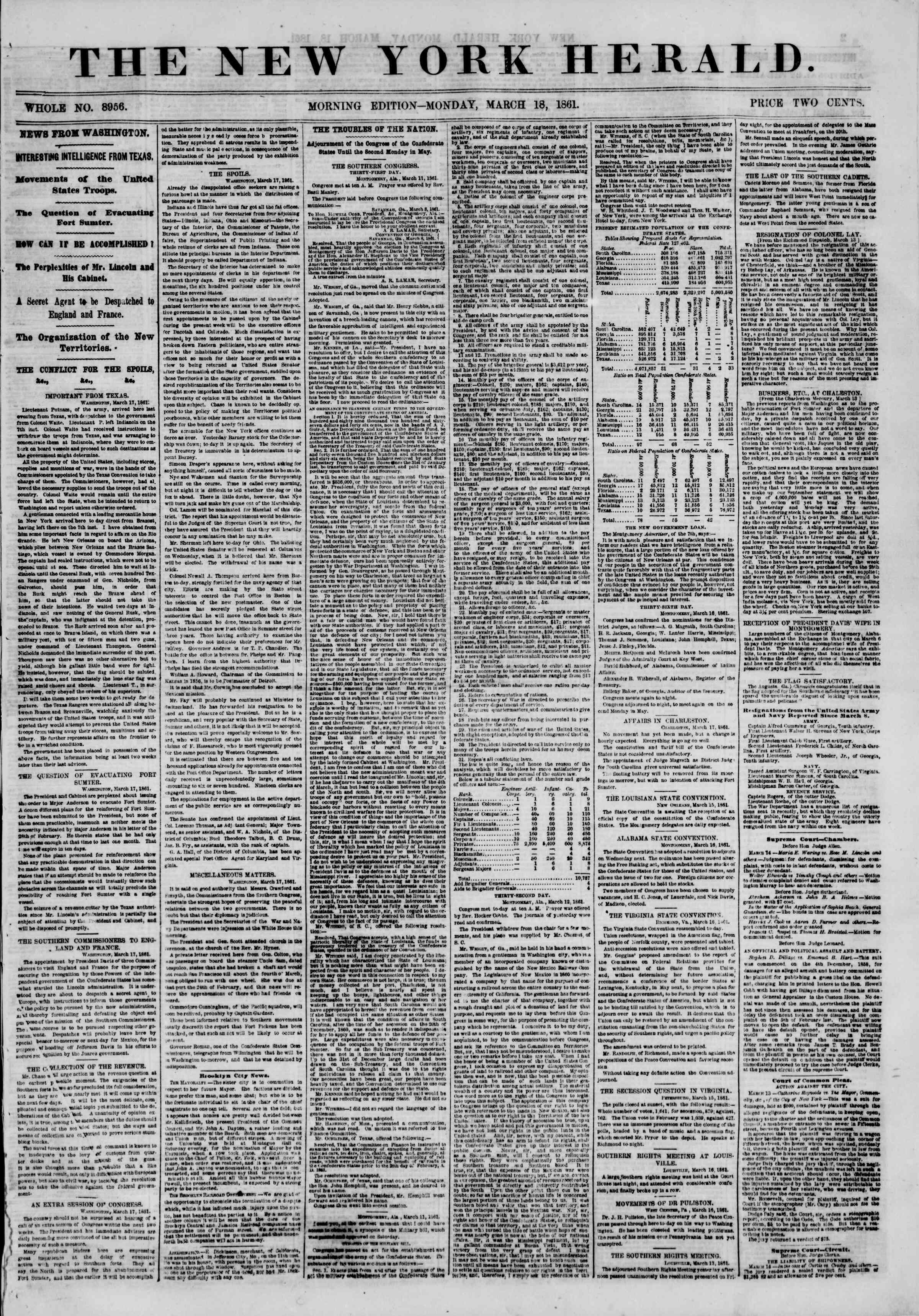 Newspaper of The New York Herald dated March 18, 1861 Page 1