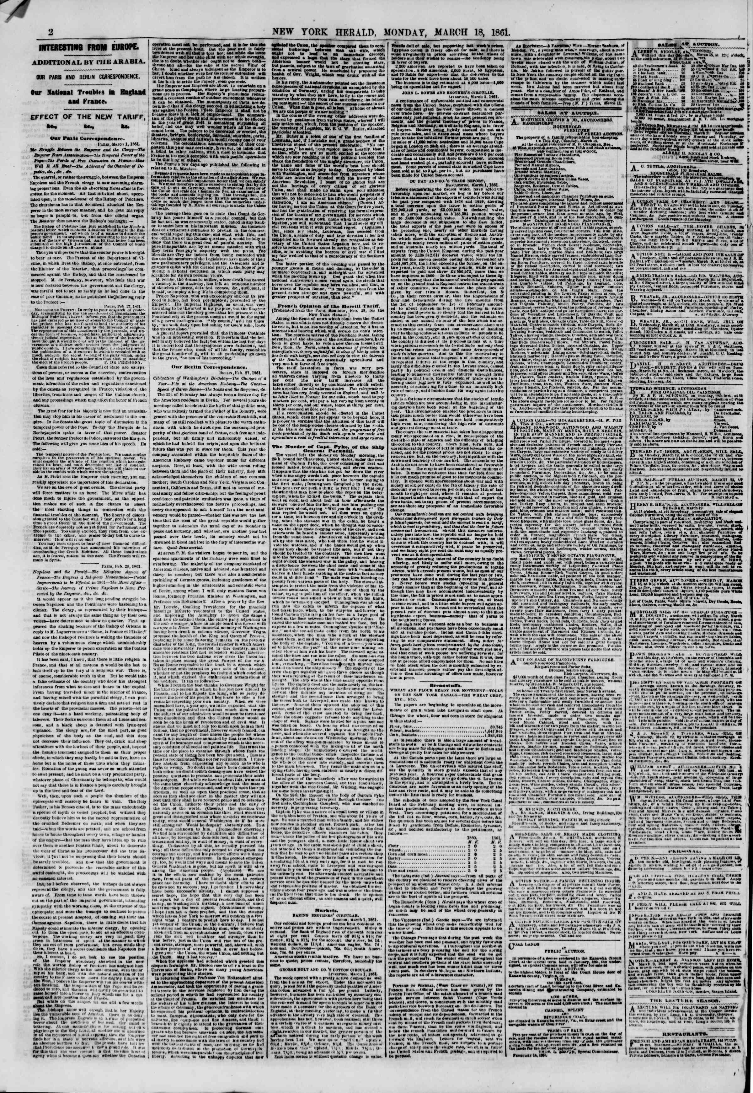 Newspaper of The New York Herald dated March 18, 1861 Page 2
