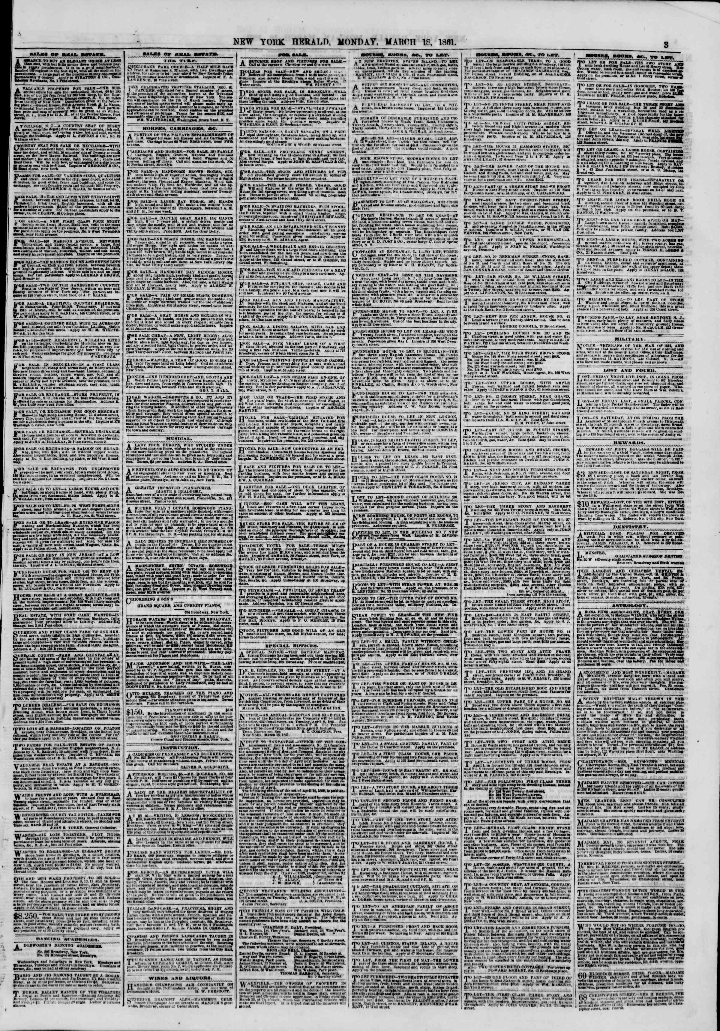 Newspaper of The New York Herald dated March 18, 1861 Page 3