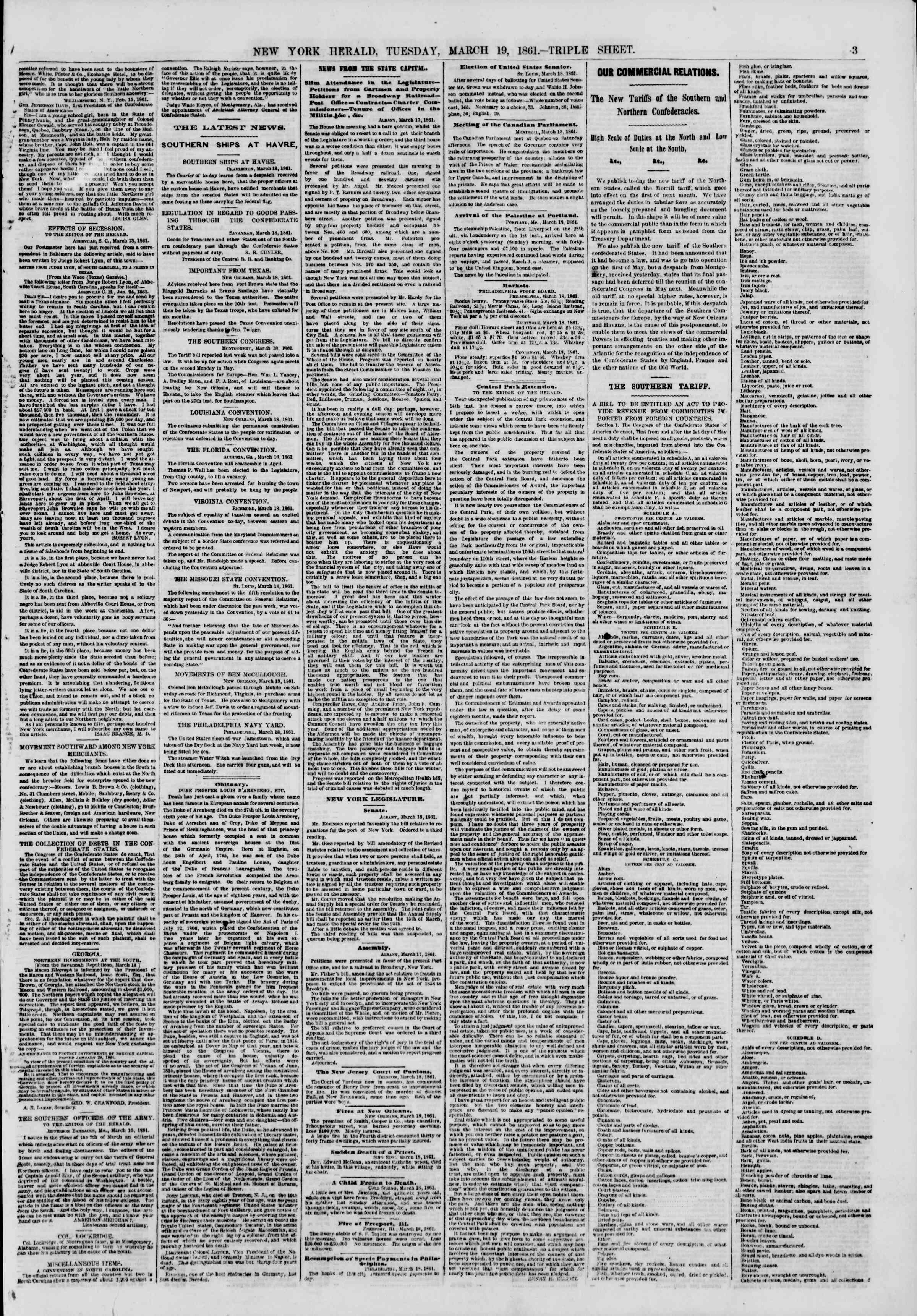 Newspaper of The New York Herald dated March 19, 1861 Page 3