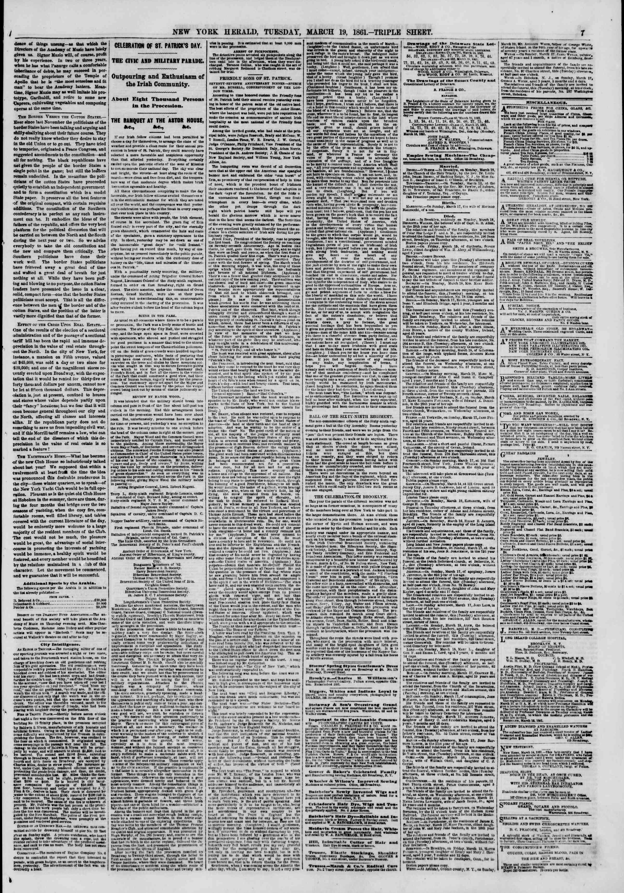 Newspaper of The New York Herald dated March 19, 1861 Page 7