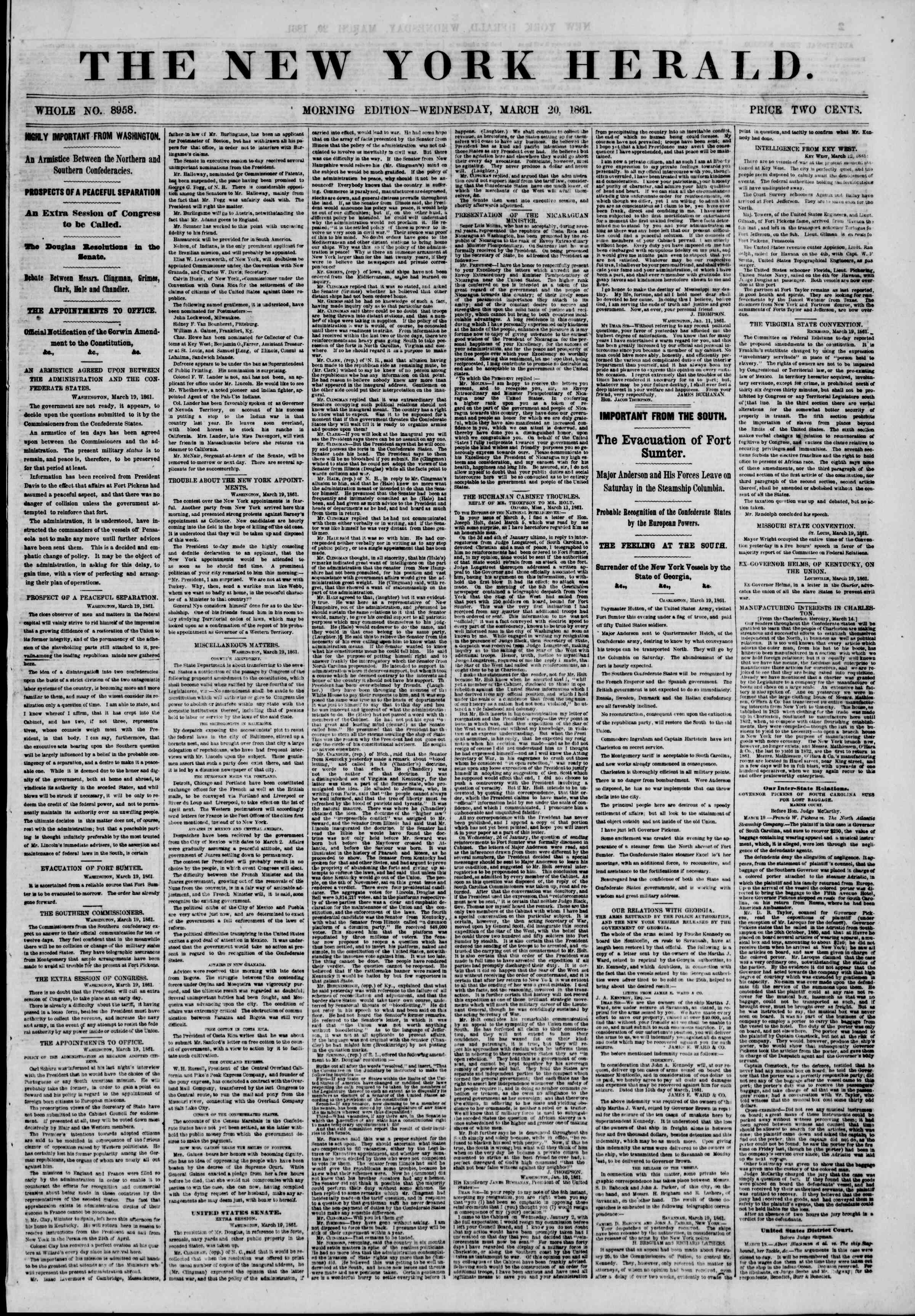 Newspaper of The New York Herald dated March 20, 1861 Page 1
