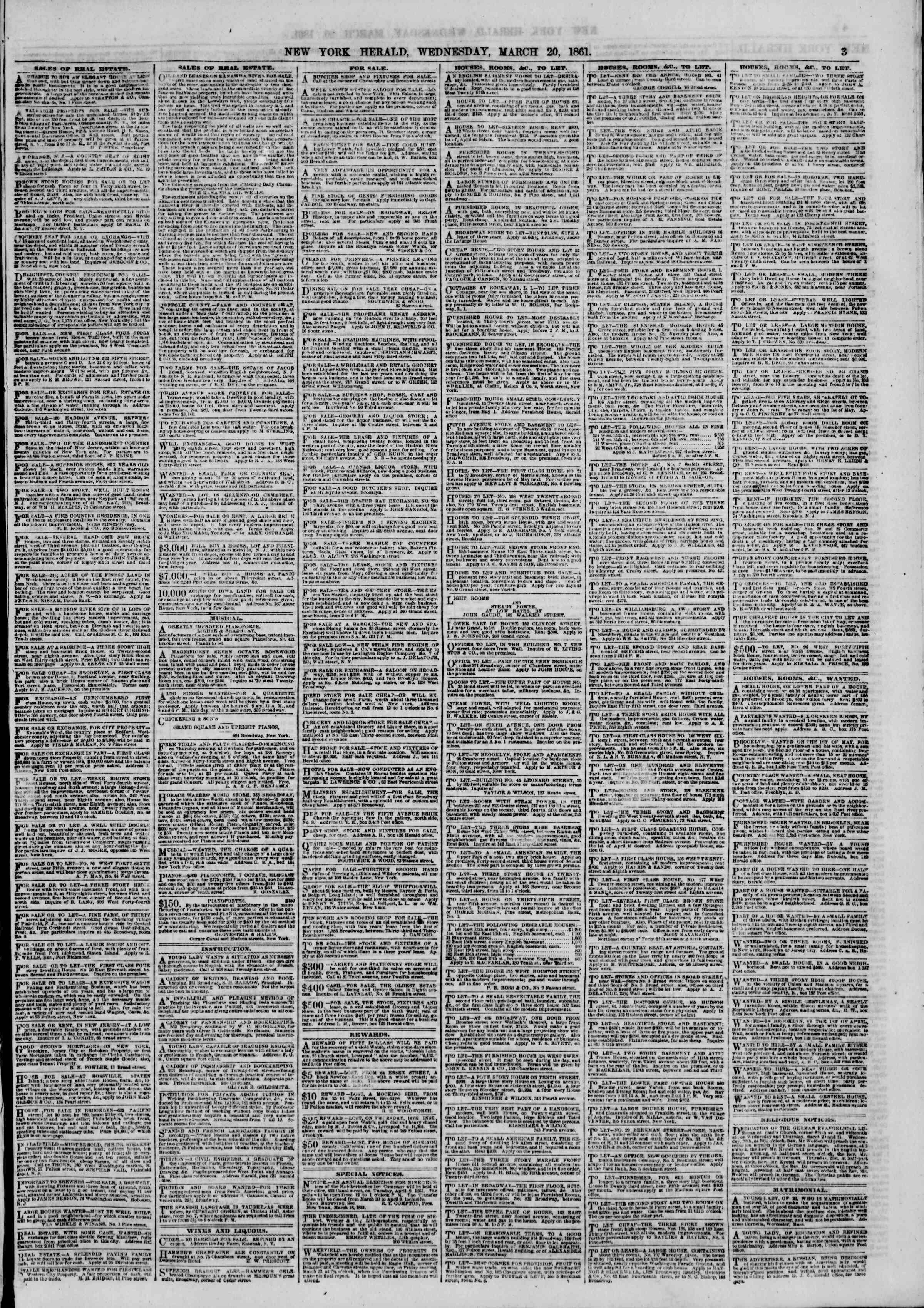 Newspaper of The New York Herald dated March 20, 1861 Page 3
