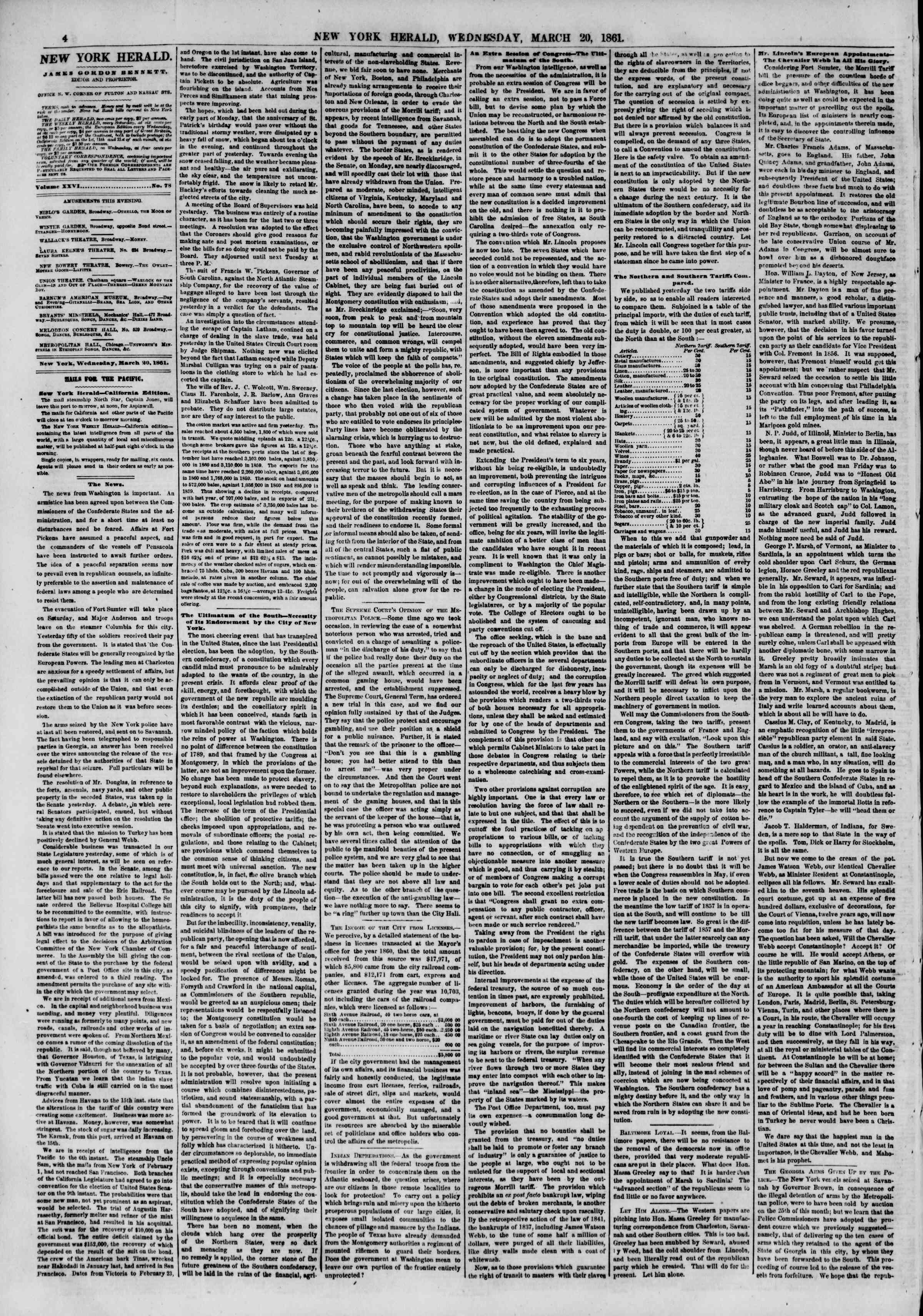 Newspaper of The New York Herald dated March 20, 1861 Page 4