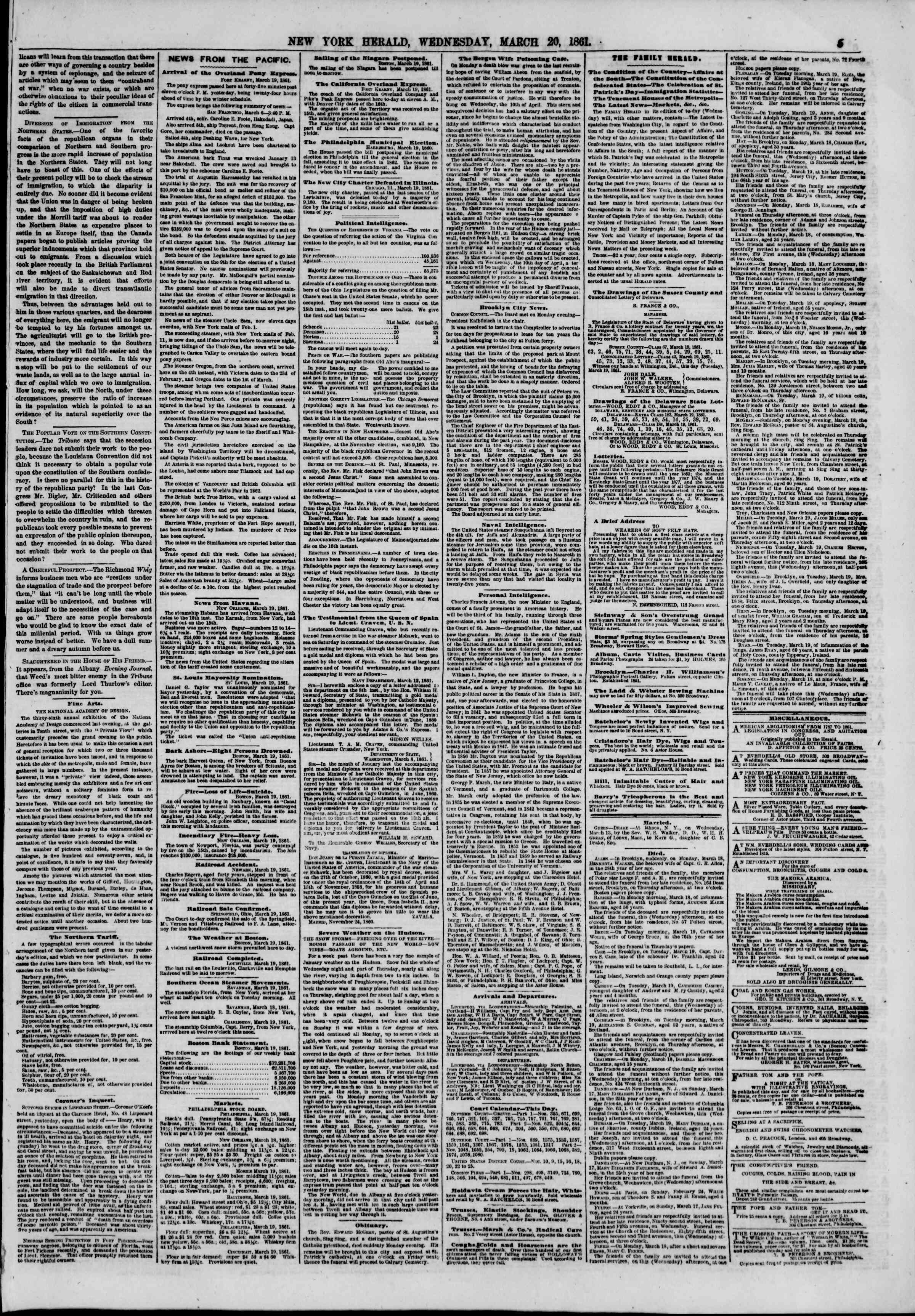 Newspaper of The New York Herald dated March 20, 1861 Page 5