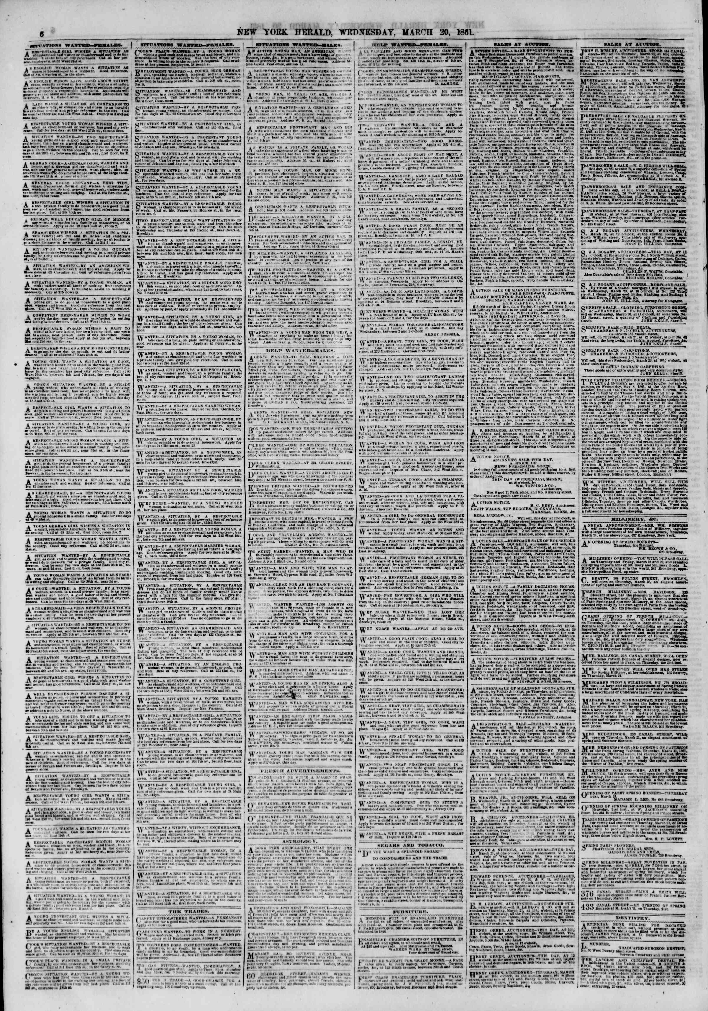 Newspaper of The New York Herald dated 20 Mart 1861 Page 6