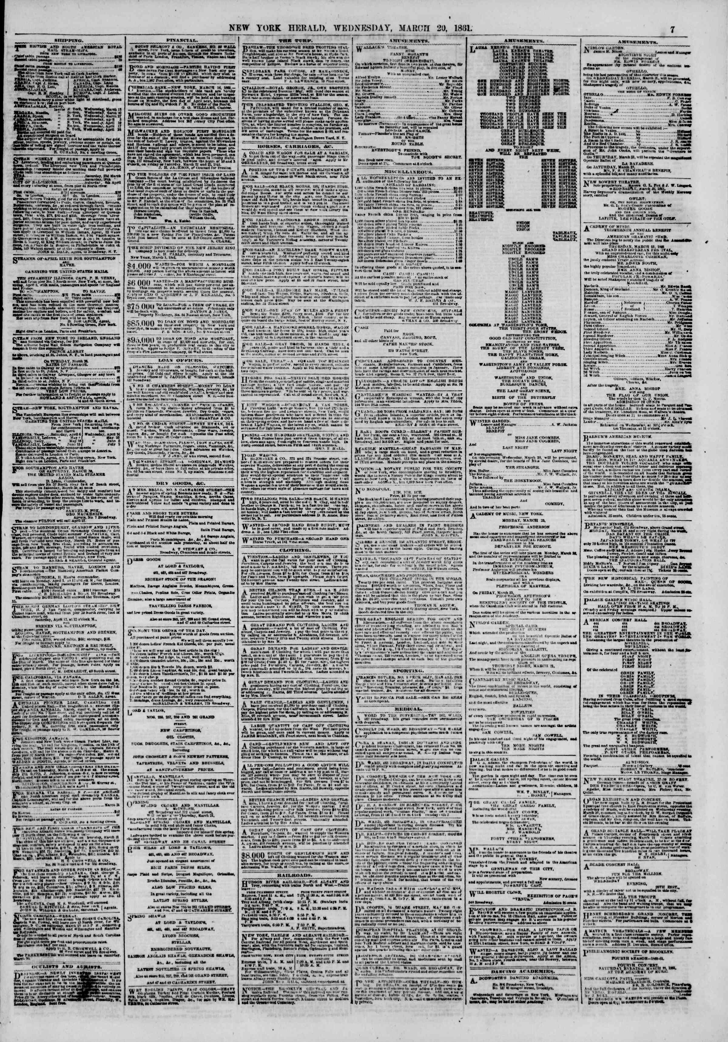 Newspaper of The New York Herald dated March 20, 1861 Page 7