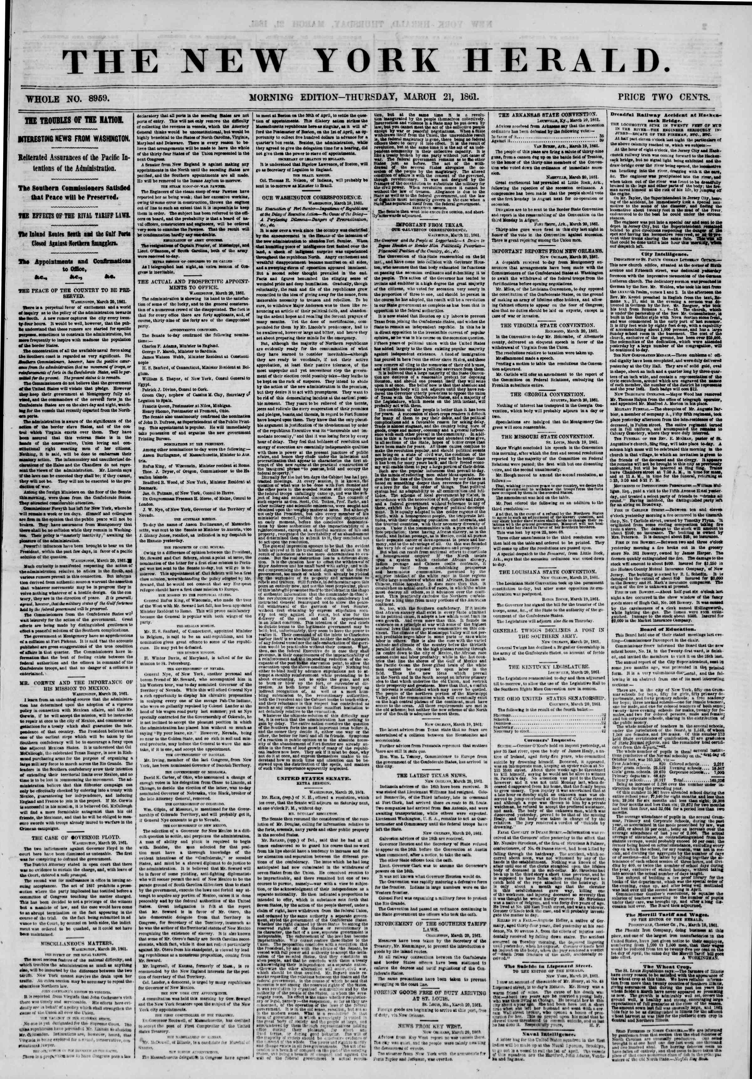Newspaper of The New York Herald dated March 21, 1861 Page 1
