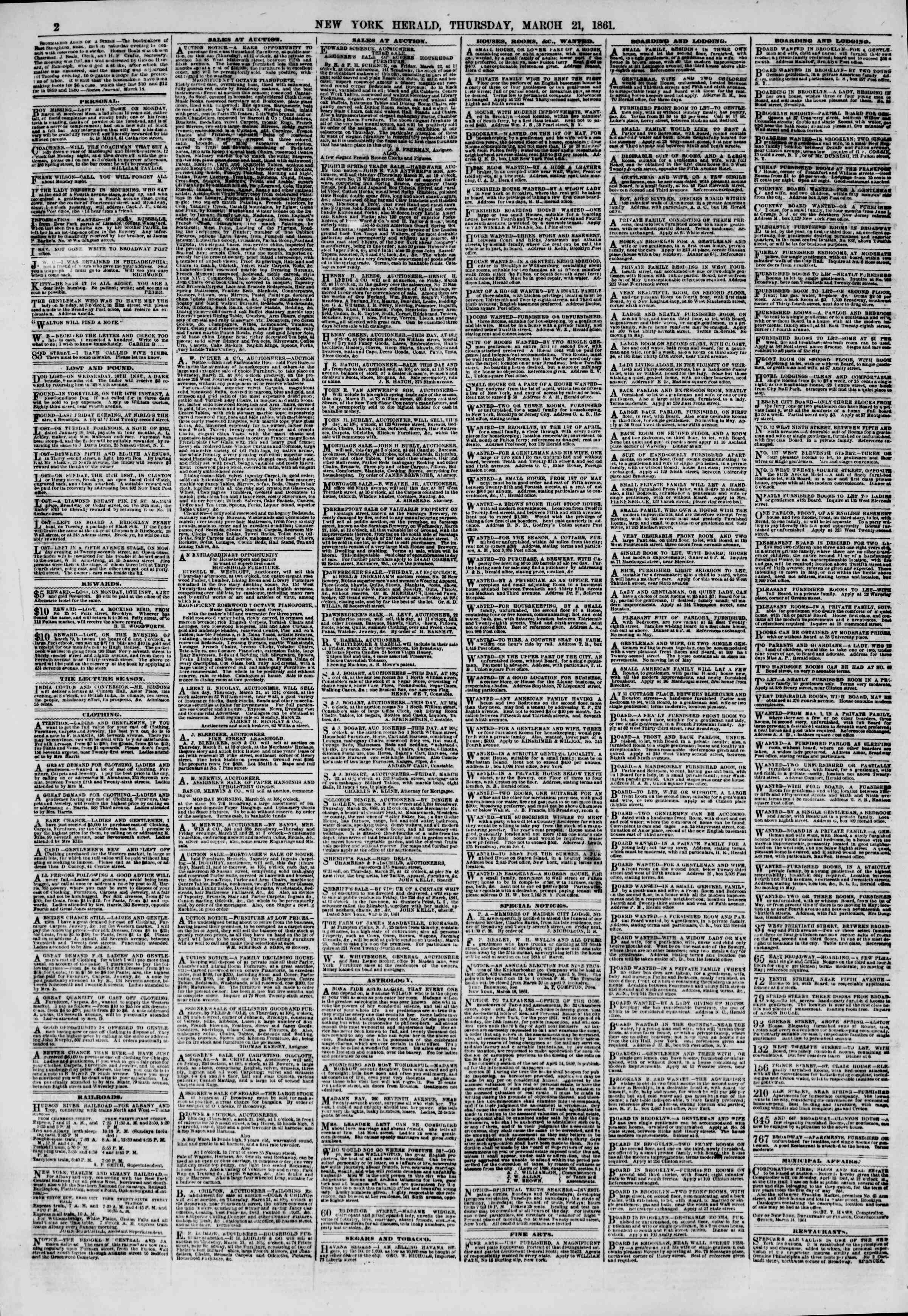 Newspaper of The New York Herald dated March 21, 1861 Page 2