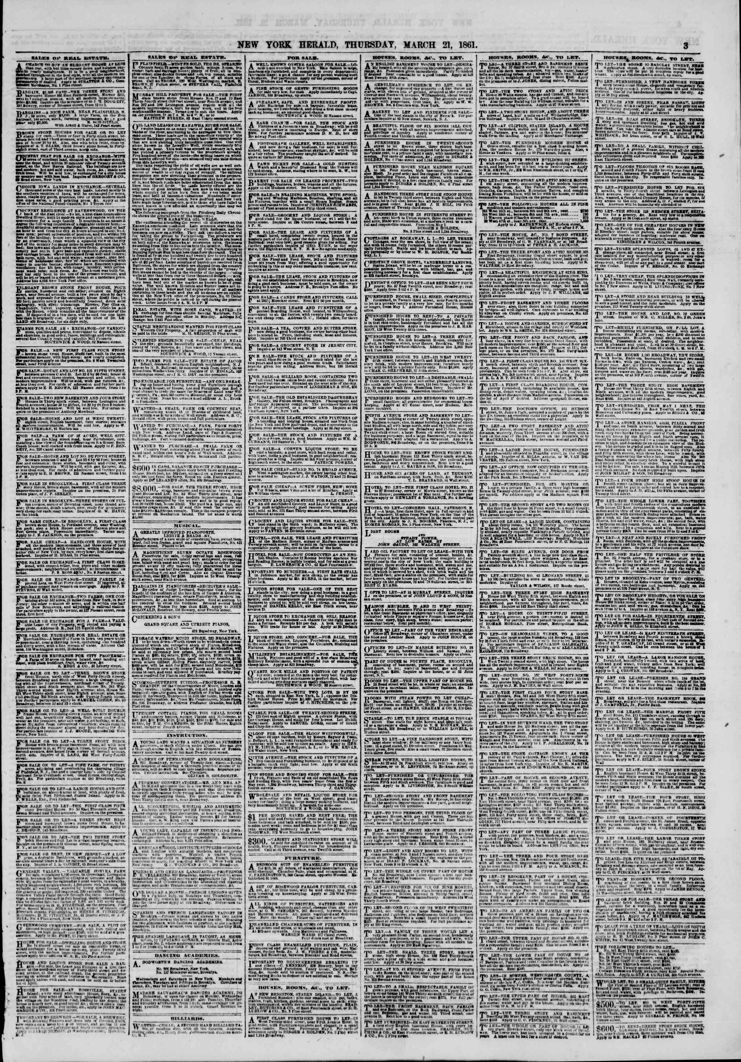 Newspaper of The New York Herald dated March 21, 1861 Page 3