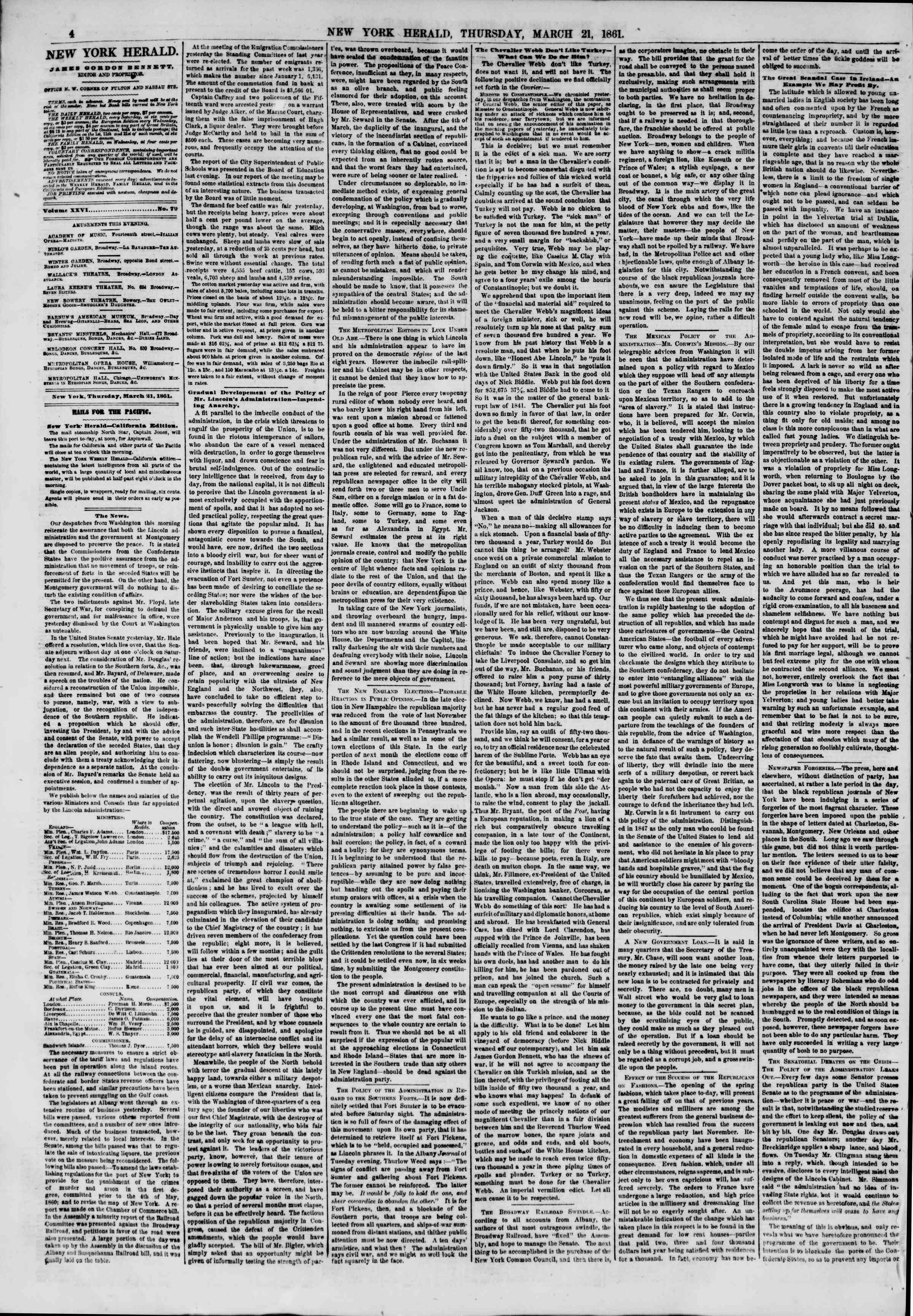 Newspaper of The New York Herald dated March 21, 1861 Page 4