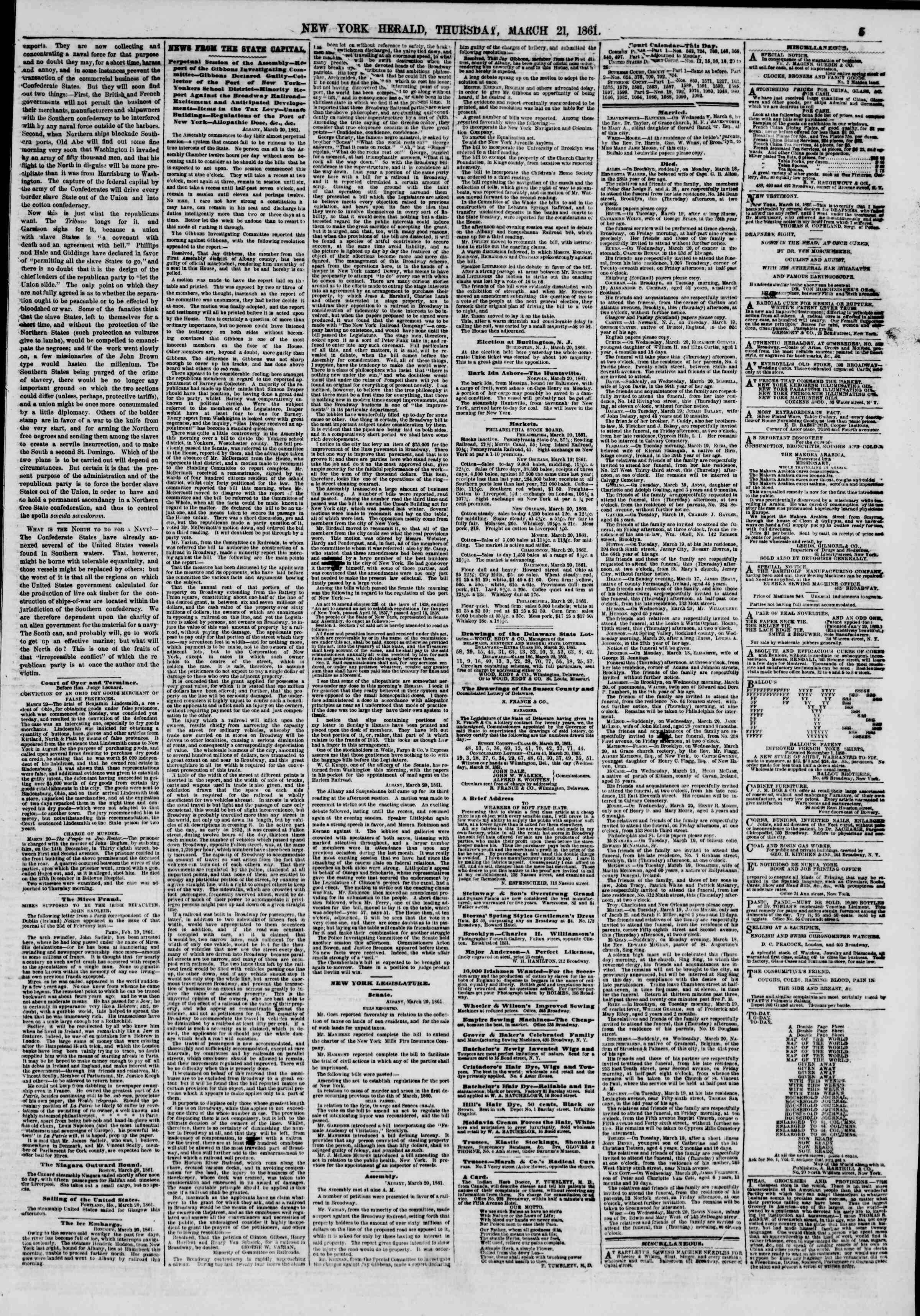 Newspaper of The New York Herald dated March 21, 1861 Page 5